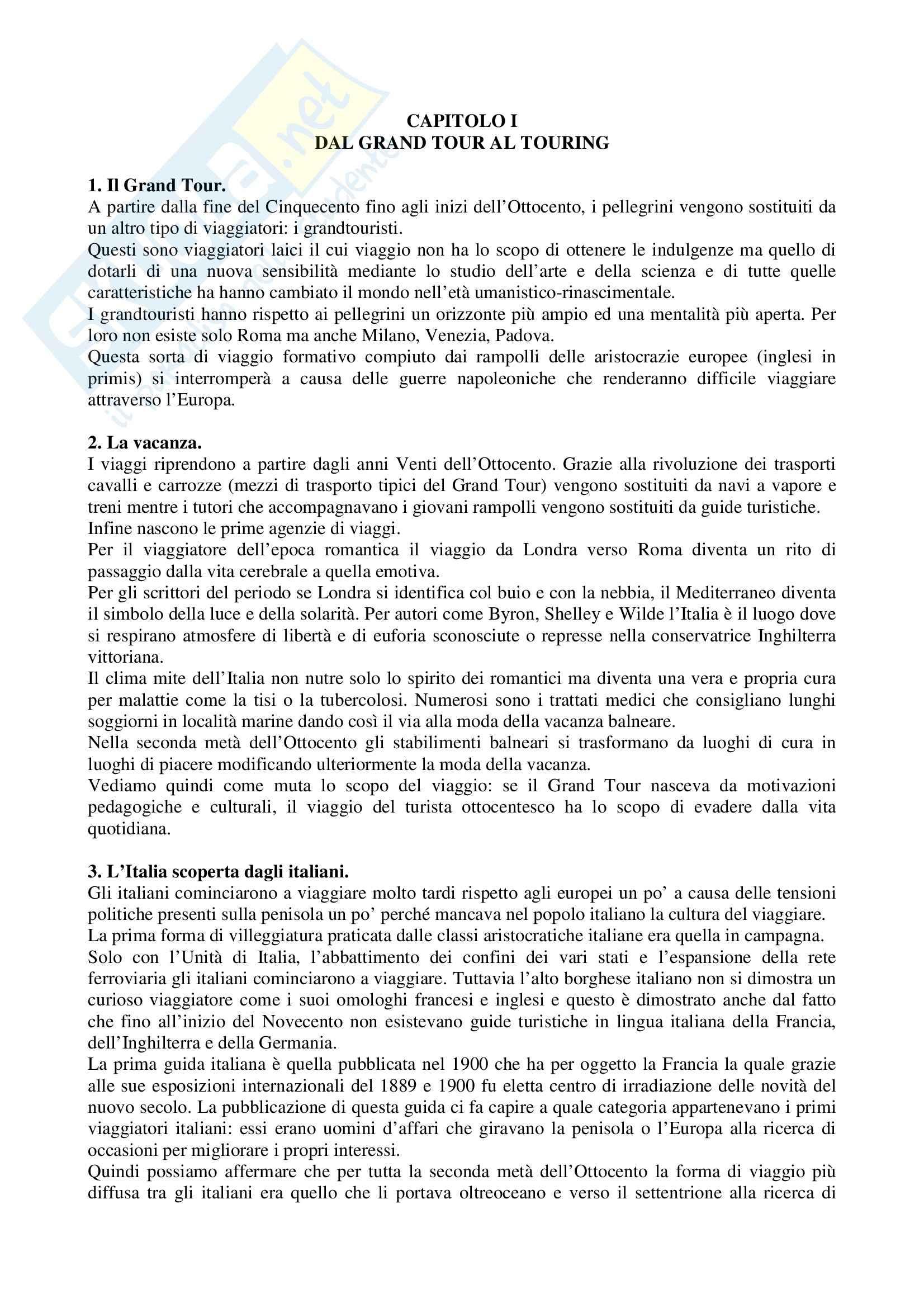 Riassunto esame Storia del turismo, prof. Gissi, libro consigliato Il touring club italiano, Pivato