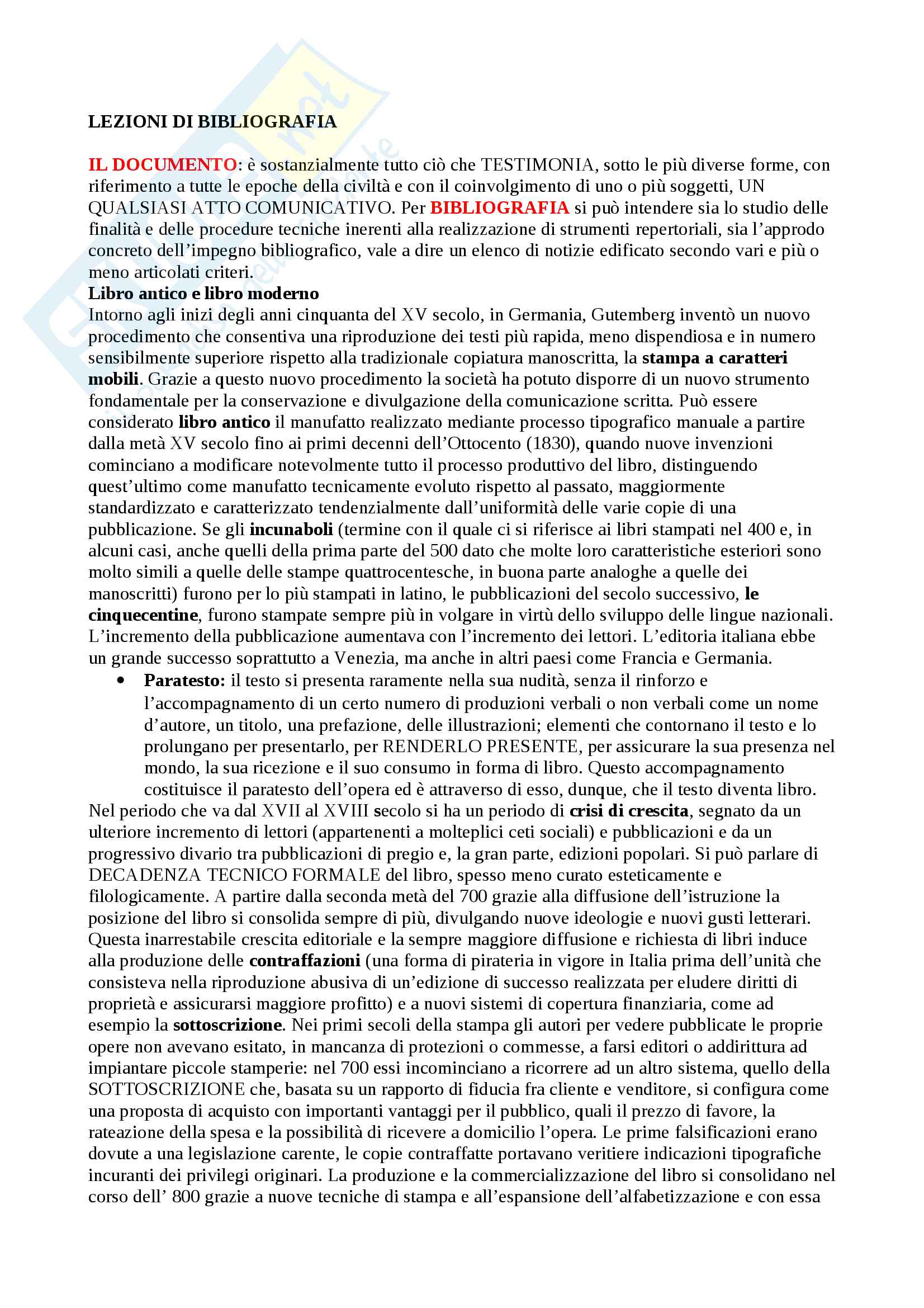 Riassunto esame Bibliografia, prof Montecchi, libro consigliato Lezioni di bibliografia di Marco Santoro