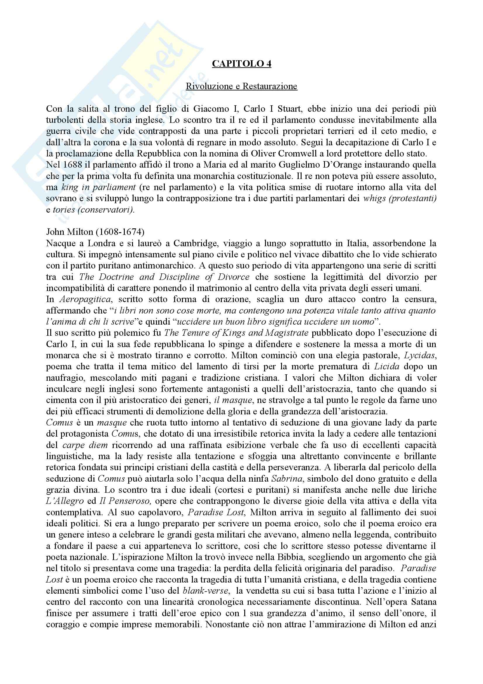 Riassunto esame Storia della Letteratura Inglese, prof. indefinito, libro consigliato Storia della Letteratura Inglese, Bertinetti
