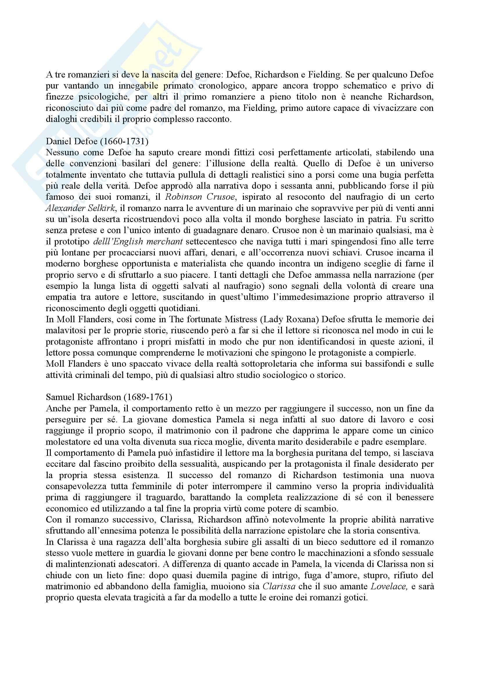 Riassunto esame Storia della Letteratura Inglese, prof. indefinito, libro consigliato Storia della Letteratura Inglese, Bertinetti Pag. 6