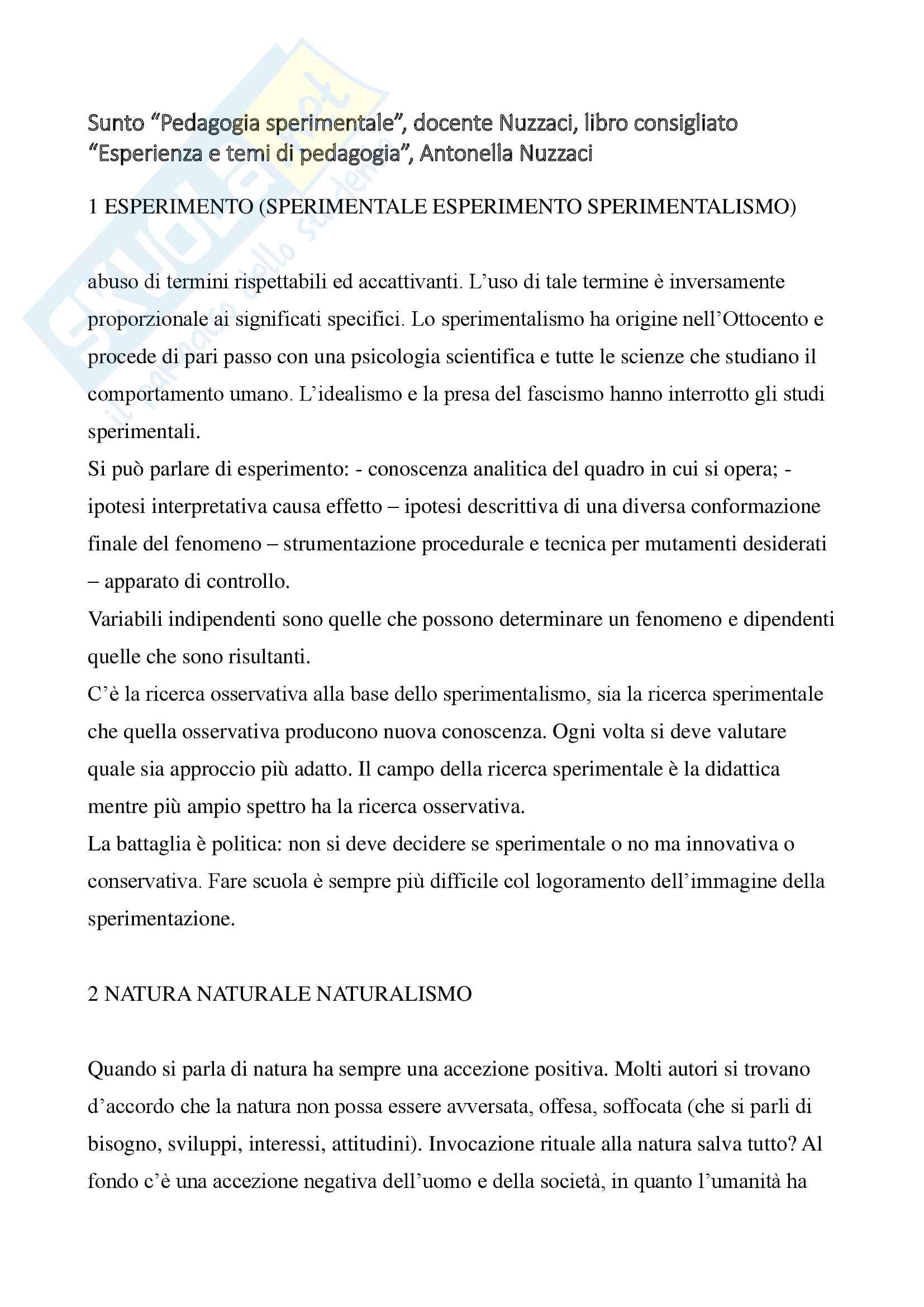 """Riassunto esame """"Pedagogia sperimentale"""", docente Nuzzaci, libro consigliato """"Esperienza e temi di pedagogia"""", Nuzzaci Antonella"""