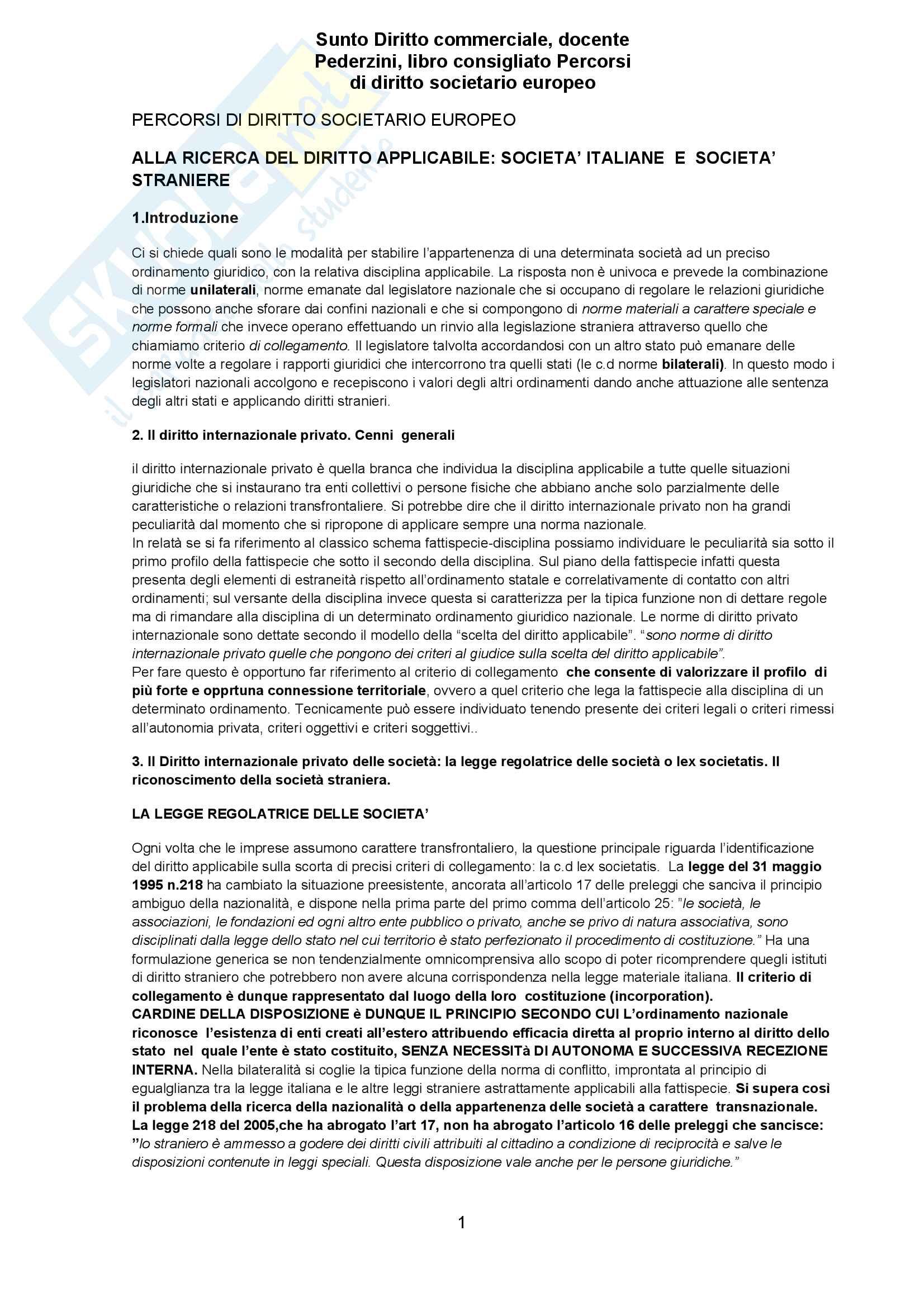 Riassunto esame Diritto commerciale, docente Pederzini, libro consigliato Percorsi di diritto societario europeo