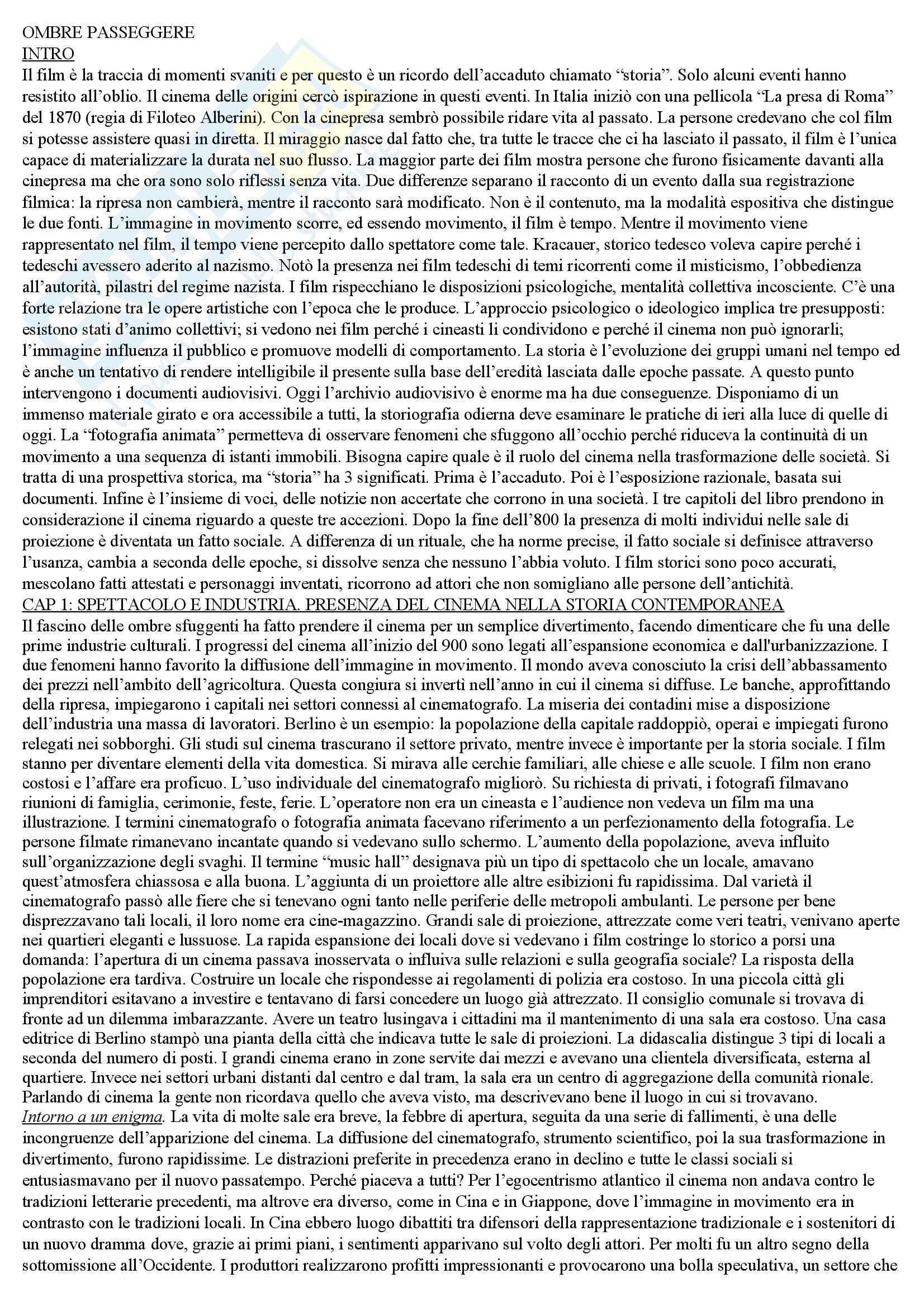 Riassunto esame Teoria e metodi di analisi del film, prof. Carluccio, libro consigliato Ombre passeggere, Sorlin
