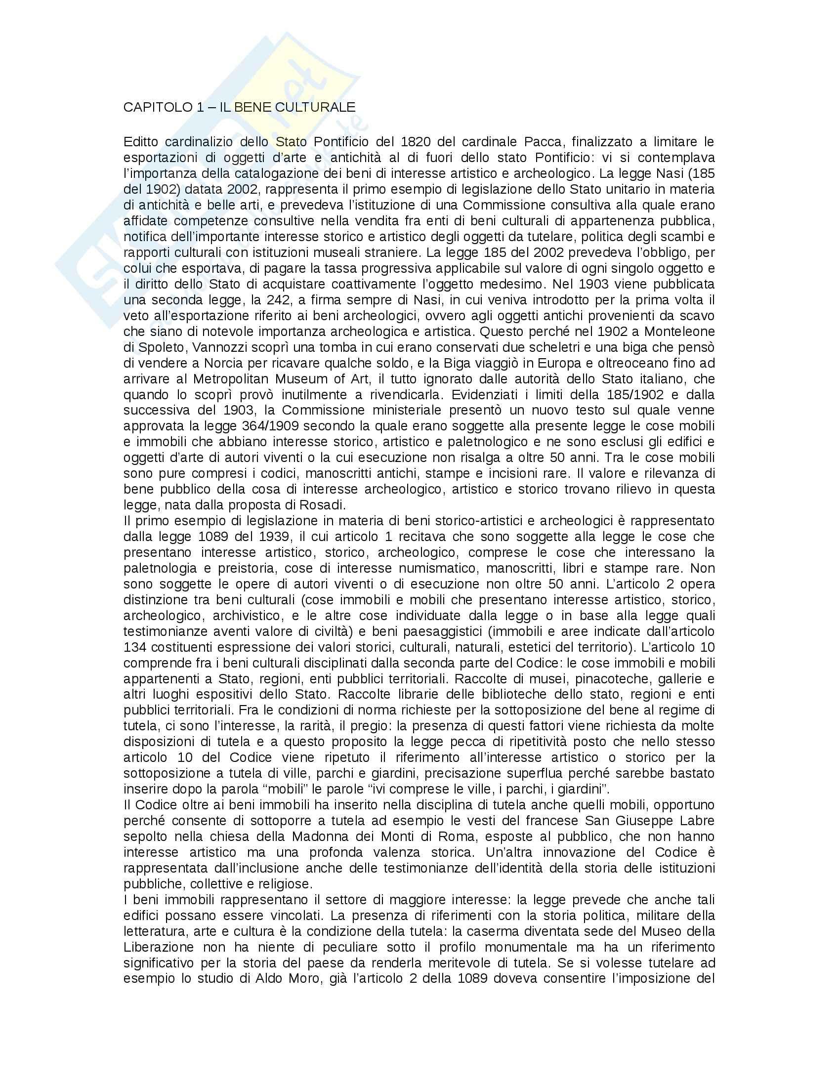 Riassunto esame Legislazione dei beni culturali, prof. Marpillero, libro consigliato Tamiozzo