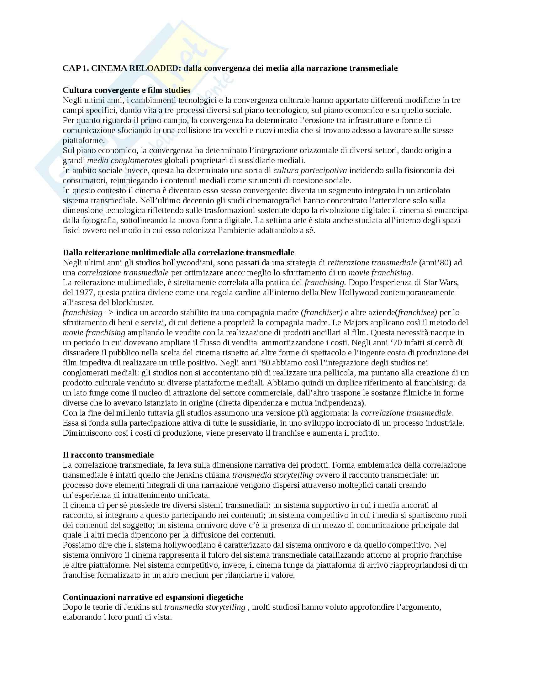 Riassunto esame Dinamiche dei processi intertestuali e intermediali, prof. Quaresima, libro consigliato Il cinema della convergenza, Zecca