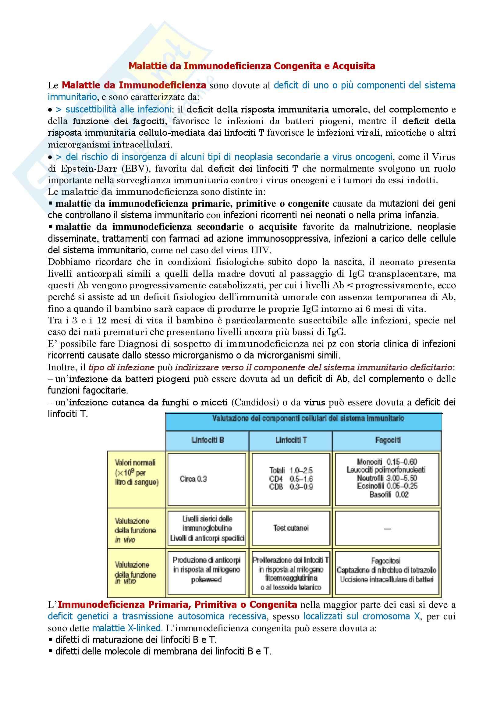 Immunologia - malattie da immunodeficienza congenita