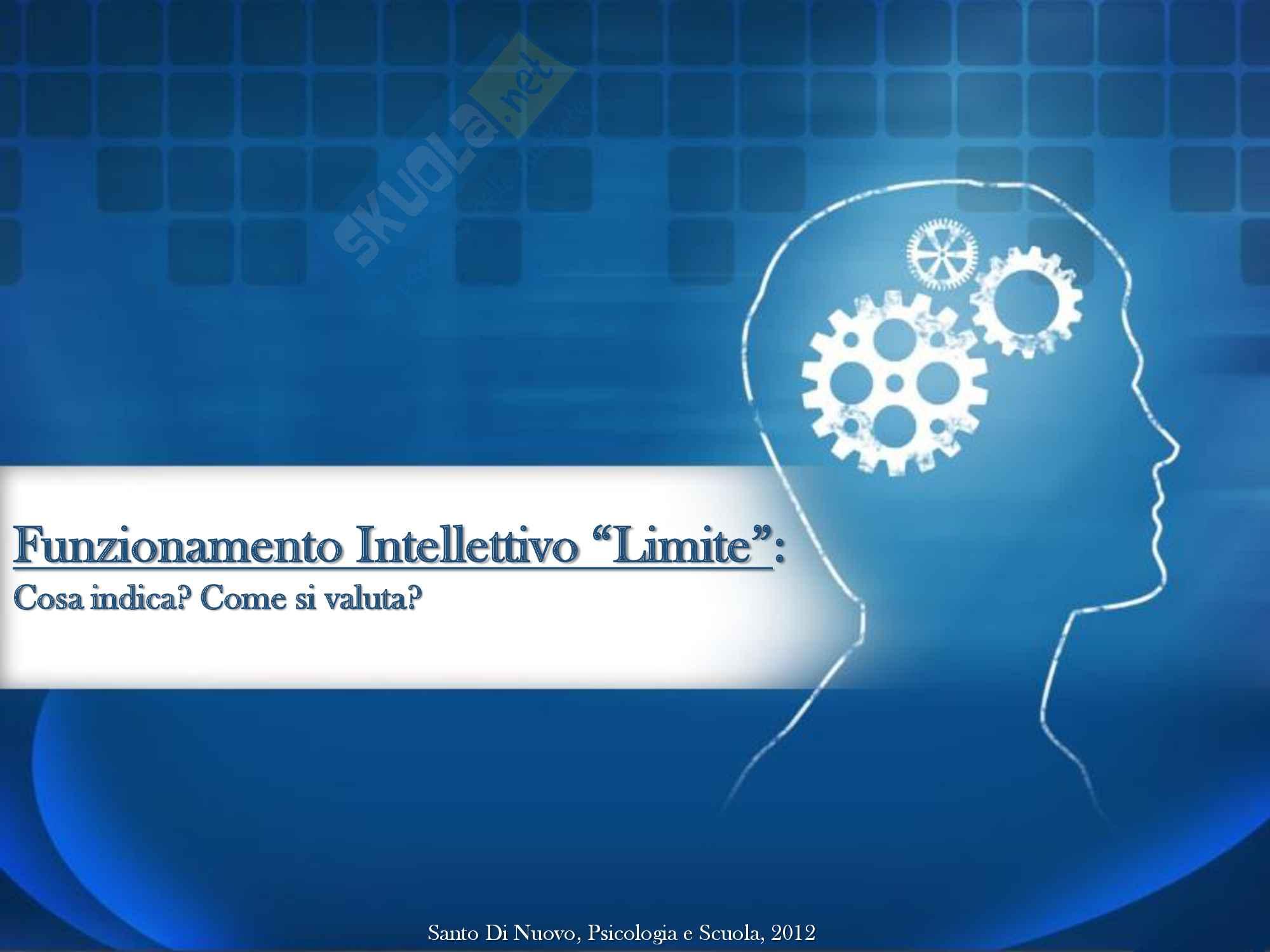 Presentazione power point sul Funzionamento intellettivo limite per il laboratorio della prof.ssa Orsolini