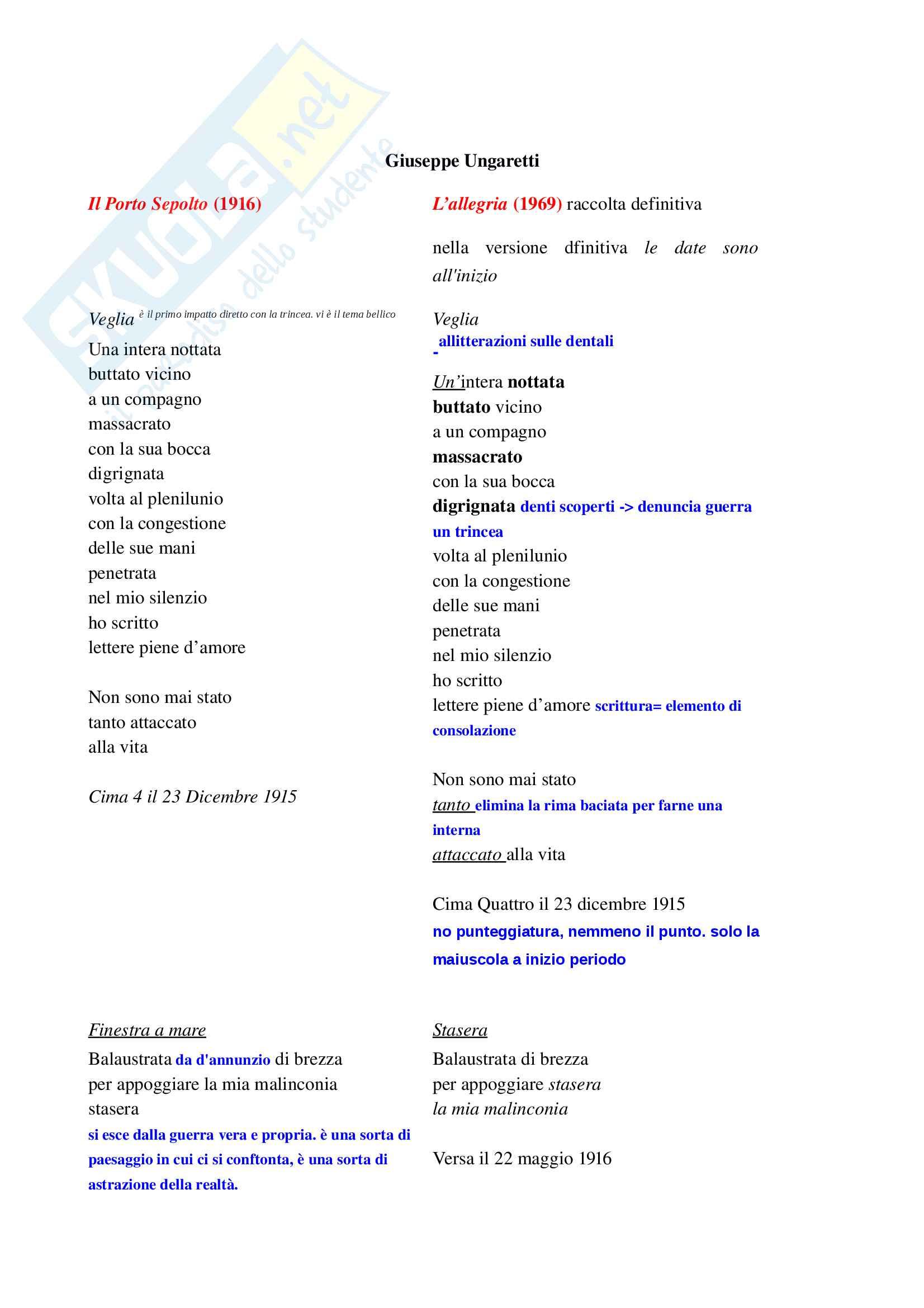 Il porto sepolto: analisi poesie Ungaretti (lezione 9 e 10)