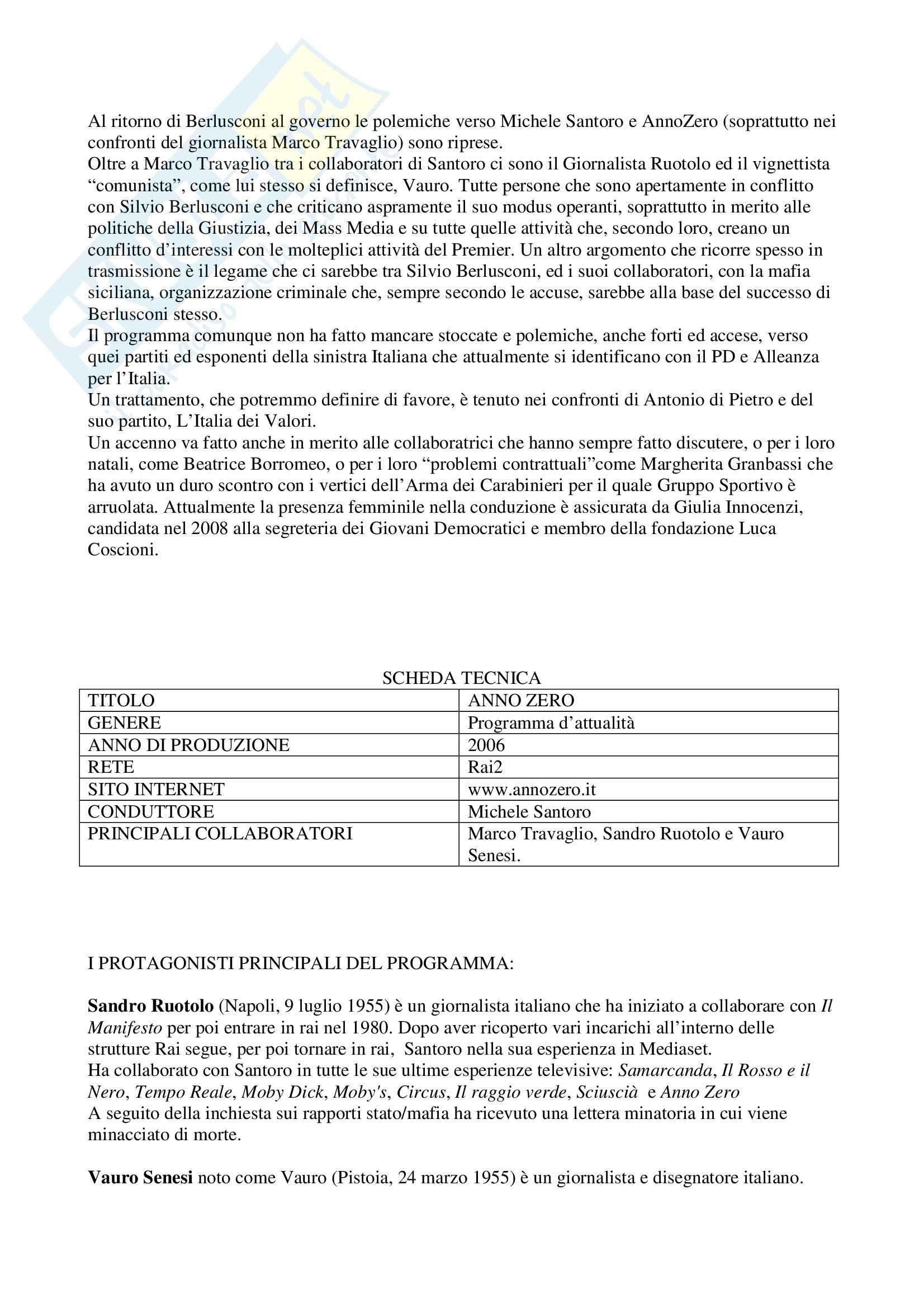 Teorie e tecniche del linguaggio radiotelevisivo - Anno Zero Pag. 2
