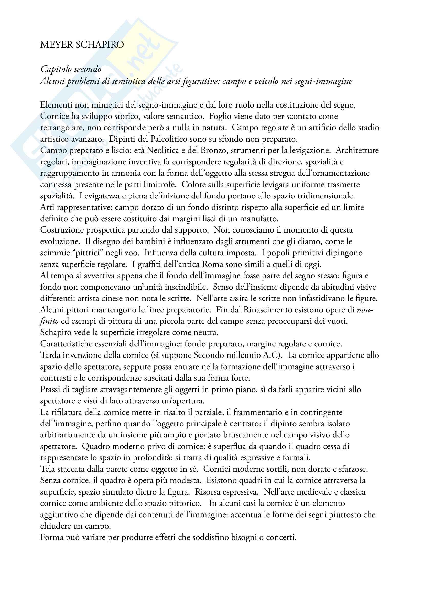 Riassunto di Semiotica dell'Arte, prof. Lucia Corrain, libro consigliato Per una semiotica del linguaggio visivo di M. Schapiro