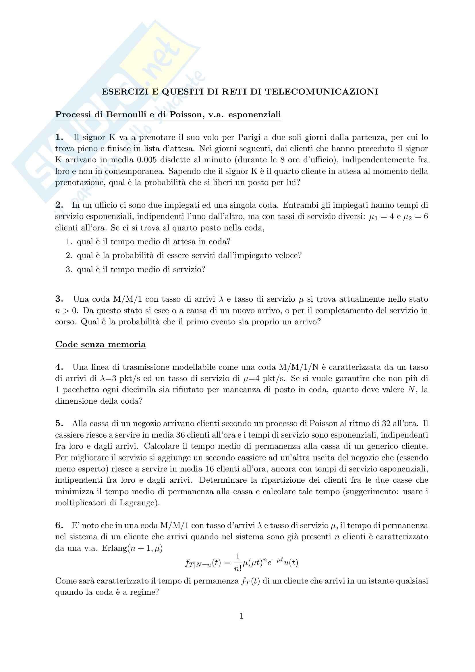 Reti di telecomunicazioni - esercizi e quesiti reti di telecomunicazioni