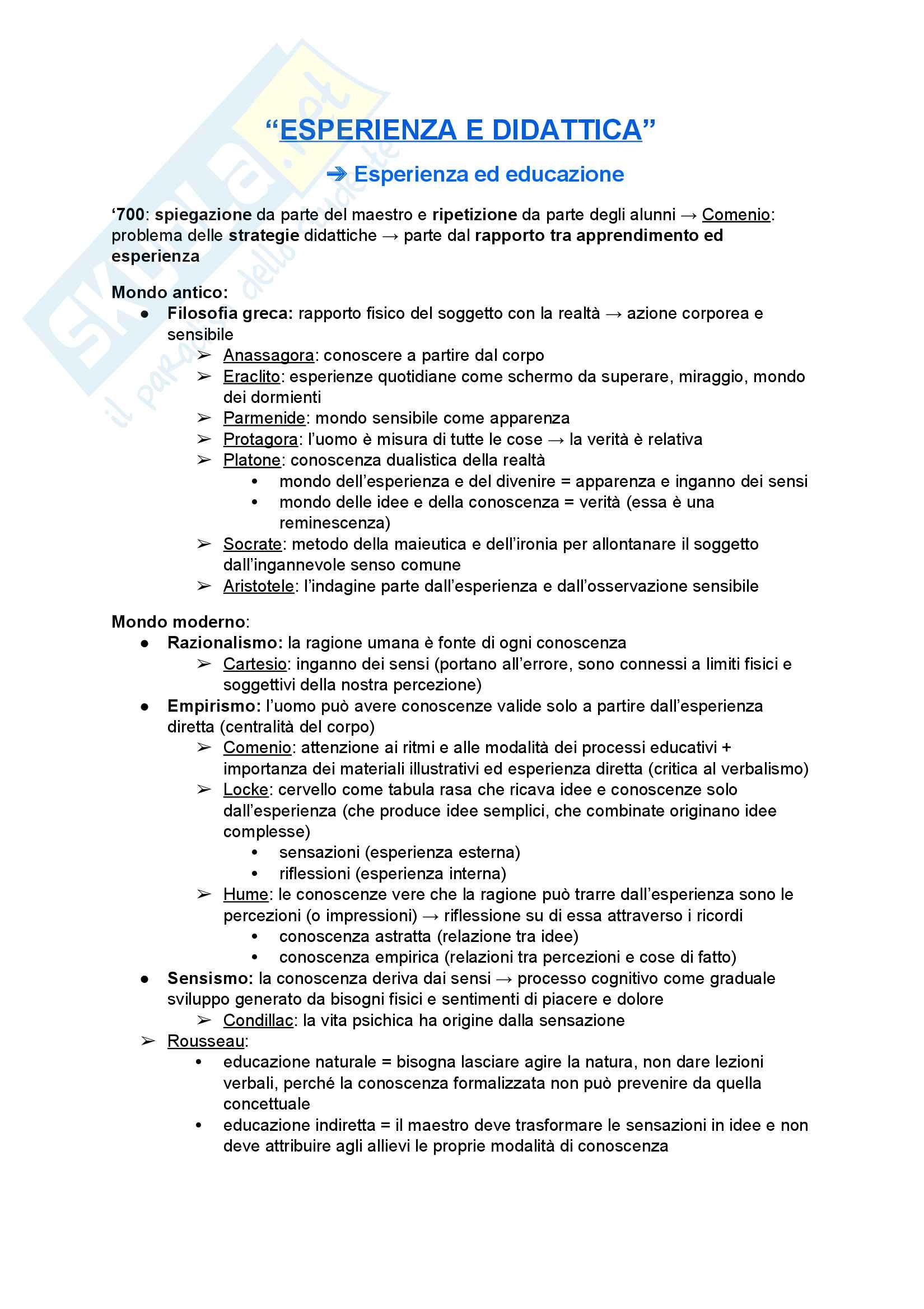 Riassunto esame Didattica Generale, prof. Teruggi, libro consigliato Esperienza e didattica, E. Nigris F. Zuccoli e S. Negri