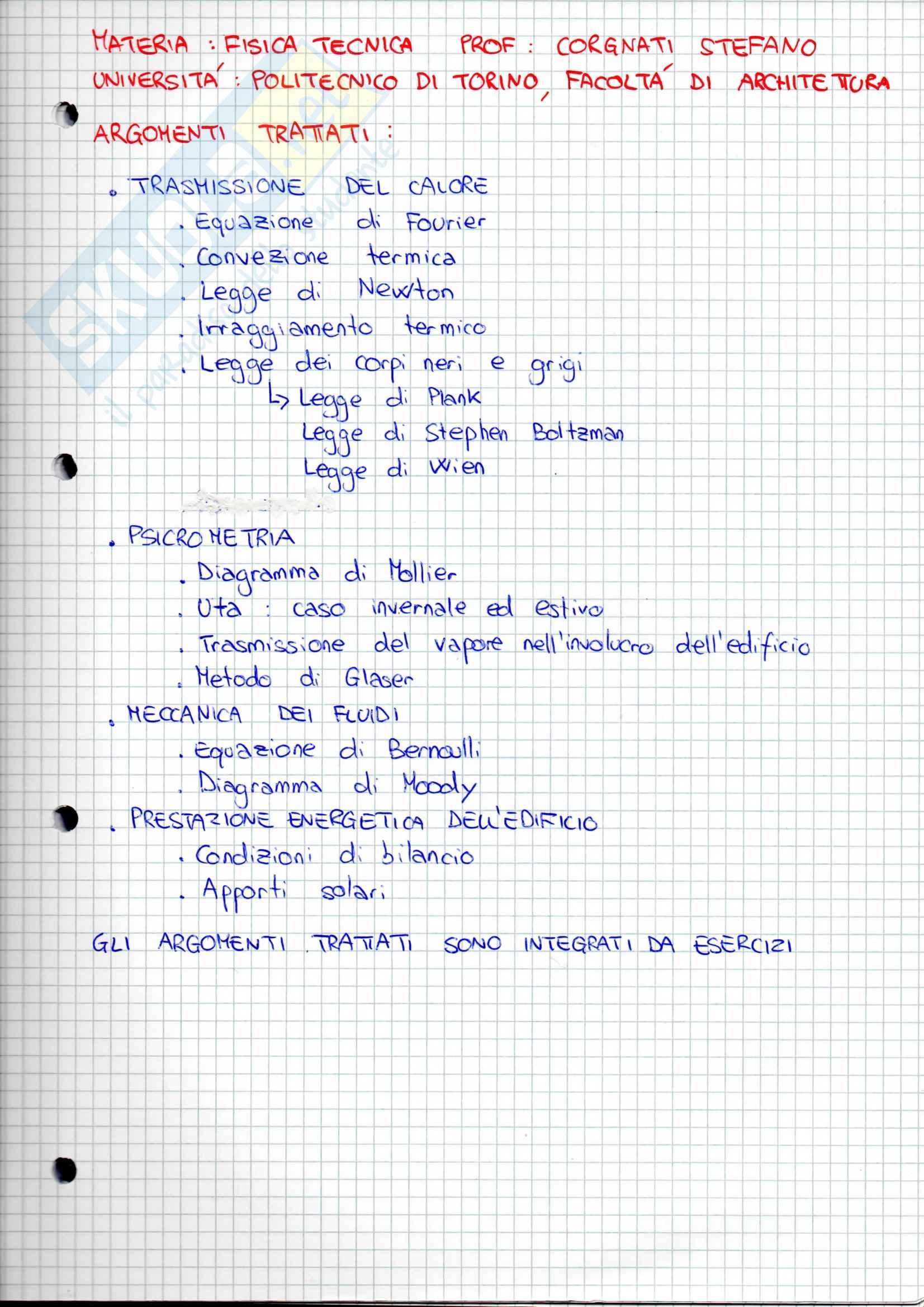 Lezioni, Fisica Tecnica ambientale