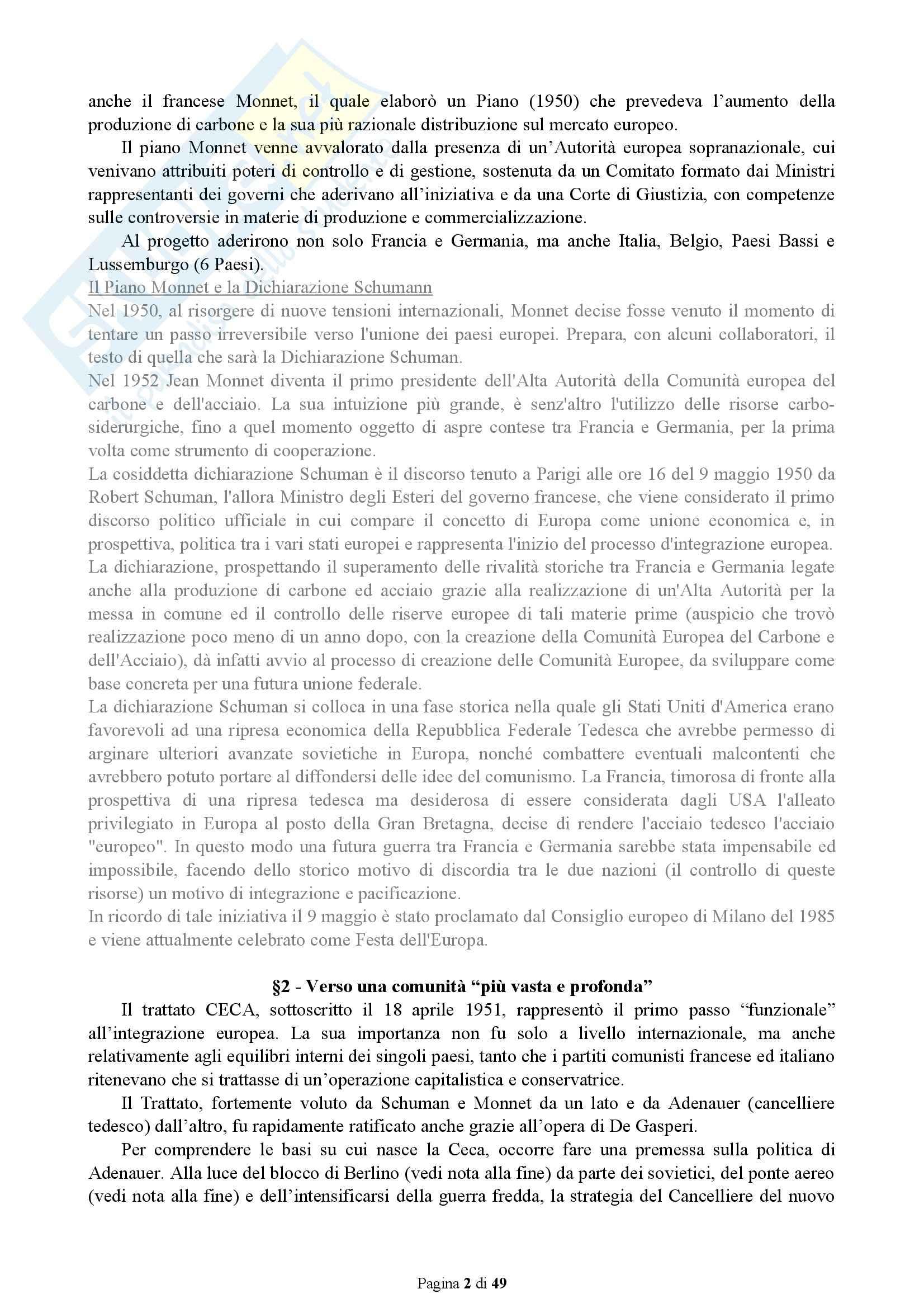 Riassunto esame Istituzioni Politiche Europee, prof. Feola, libro consigliato Dinamiche Politiche ed Istituzionali dell'Unione Europea Pag. 2