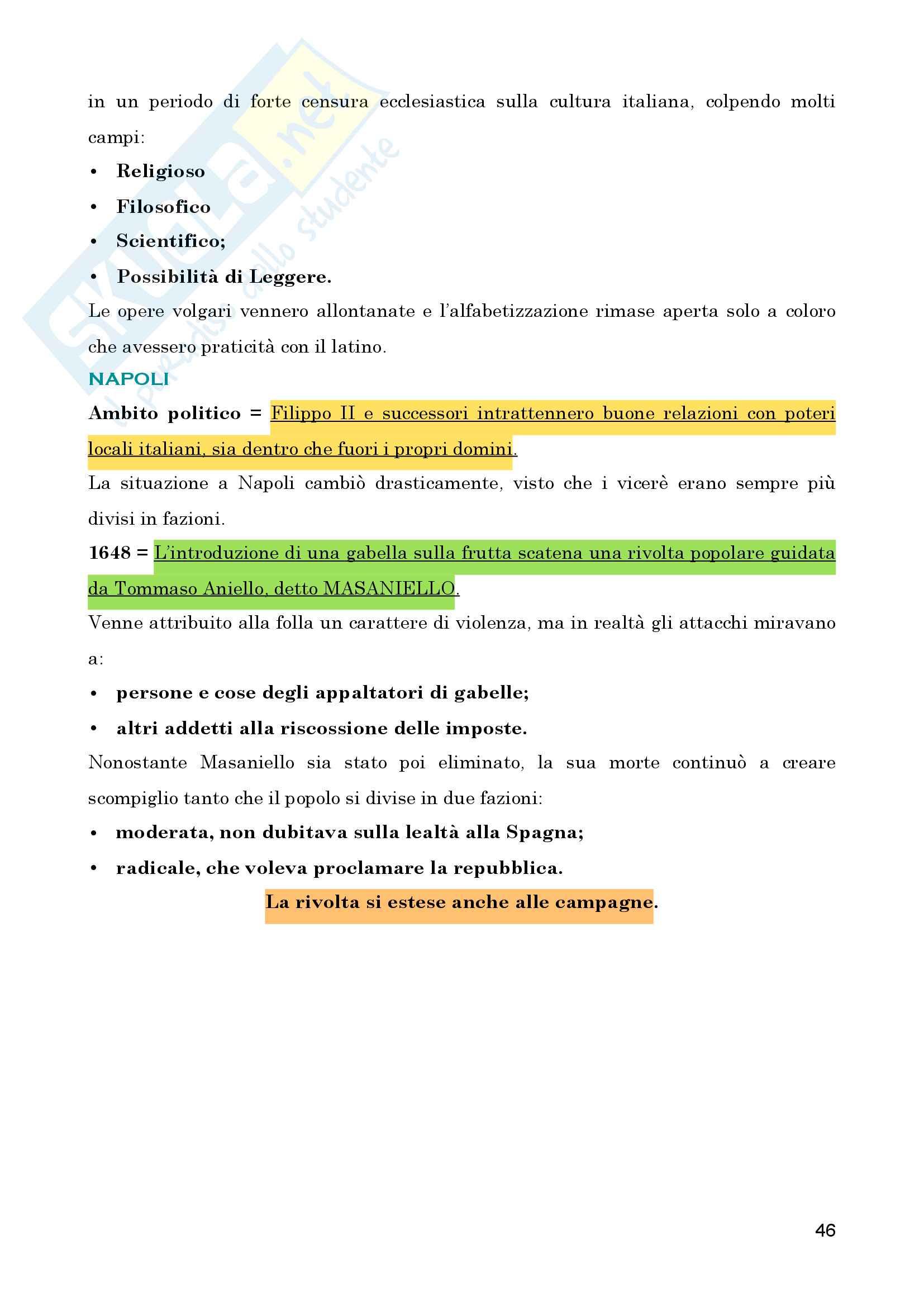 "Riassunto esame personale di Storia Moderna, prof. Giuseppe Trebbi, Libro consigliato ""Storia Moderna"" di Vidotto - Ago Pag. 46"