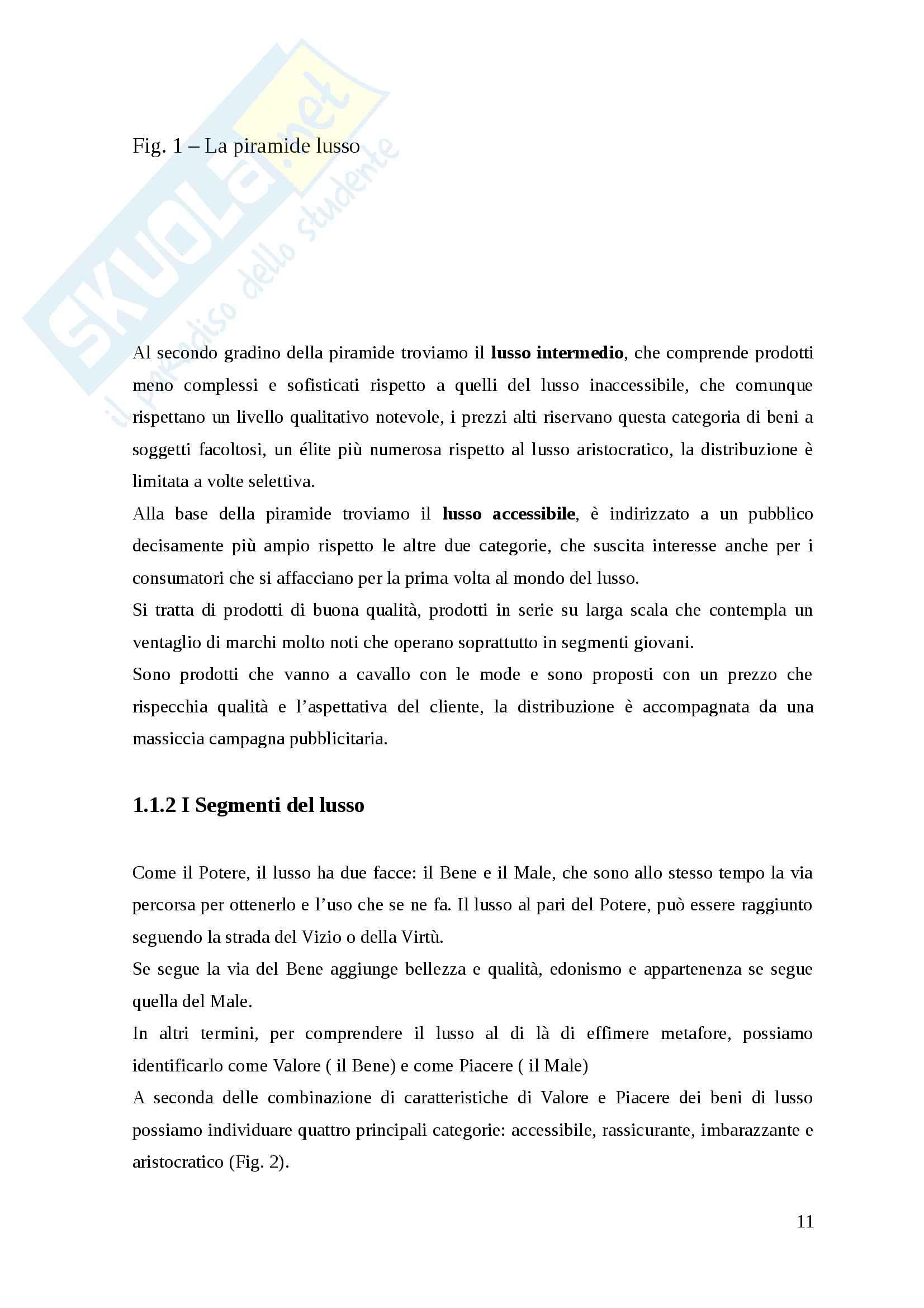 Distribuzione e marketing del consumo di lusso Pag. 11