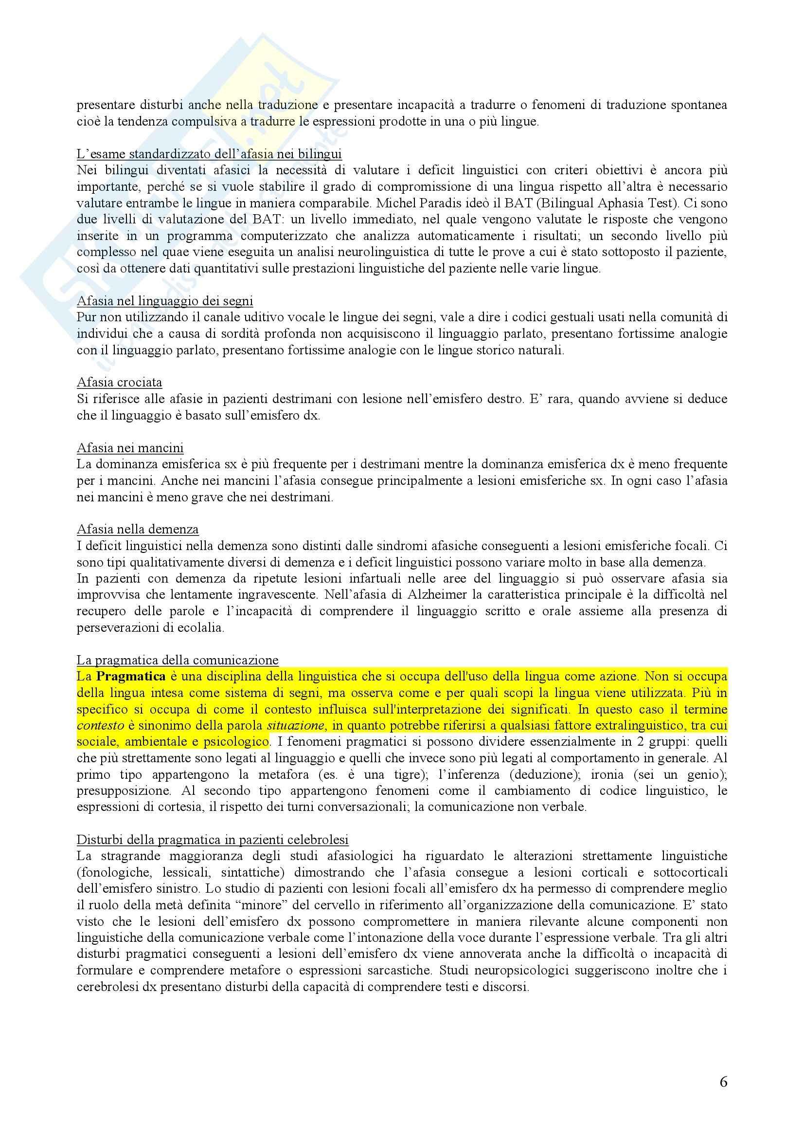 psicologia del linguaggio - sunti completi neuropsicologia del linguaggio, prof. Zeroli Pag. 6