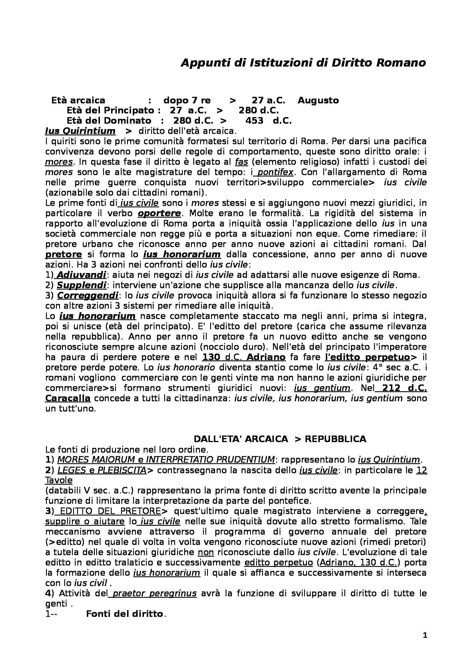 Istituzioni diritto romano - Sintesi della materia