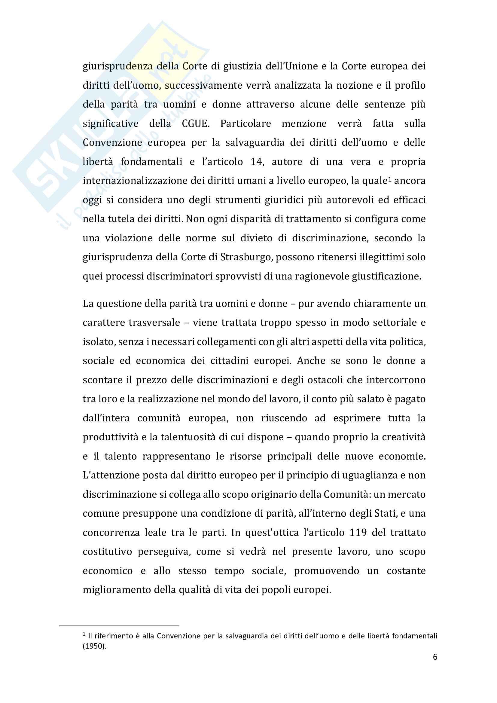 Il principio di non discriminazione fondato sul sesso e la parità di trattamento tra uomini e donne. Evoluzione e prospettive nel Diritto dell'Unione Europea Pag. 6