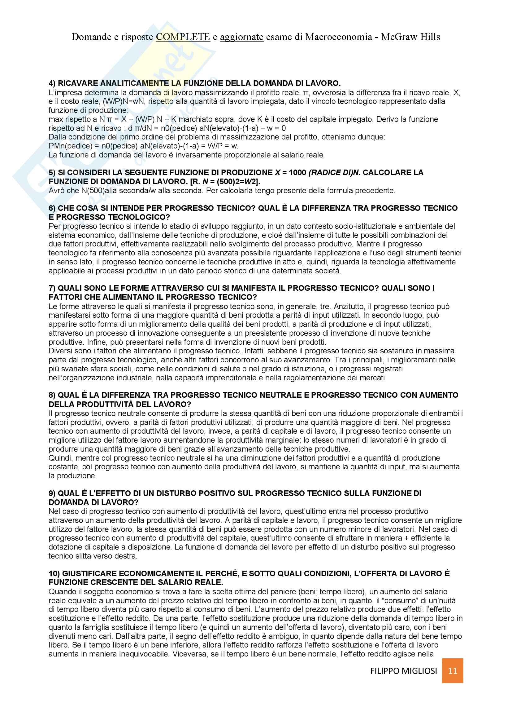 Macroeconomia - Mauro Visaggio - Risposte domande esame Pag. 11
