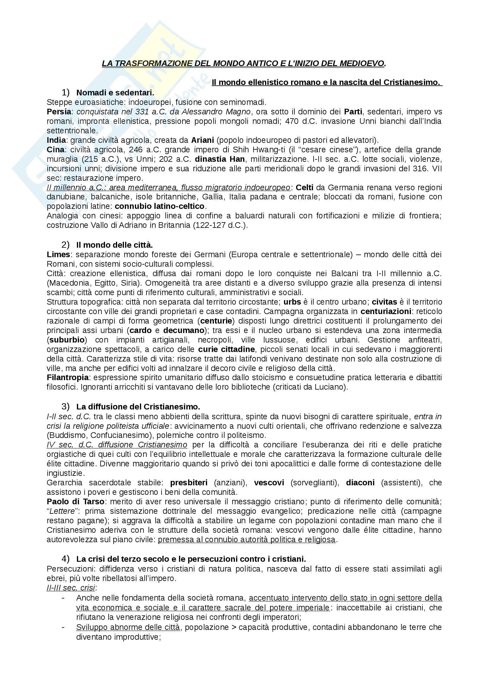 Riassunto esame Storia Medievale, prof. Figliuolo, libro consigliato Medioevo, Vitolo - prima parte