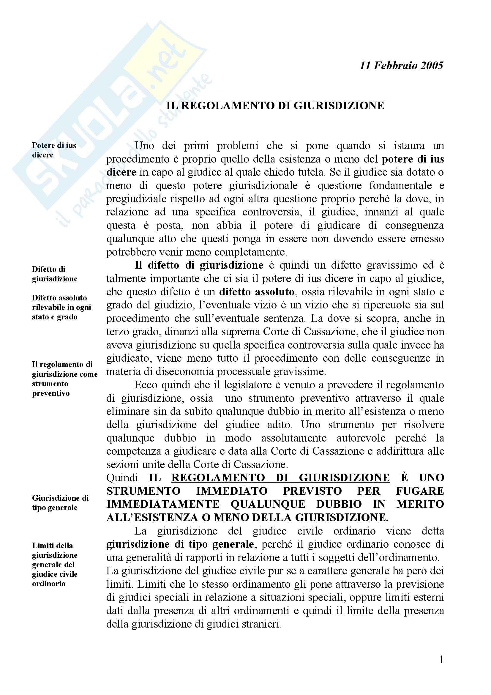 Diritto processuale civile - Regolamento di giurisdizione