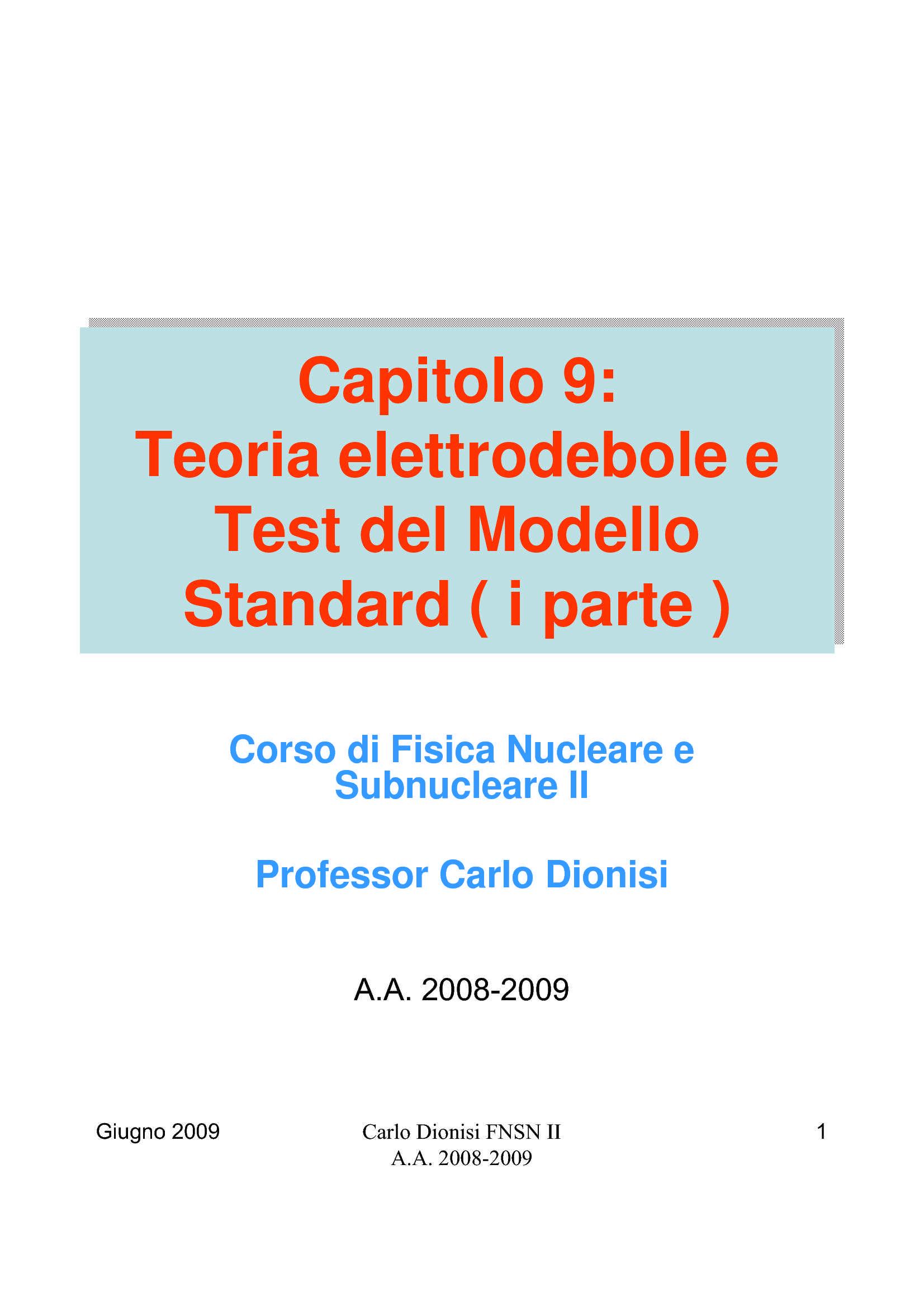Teoria elettrodebole e test del modello standard