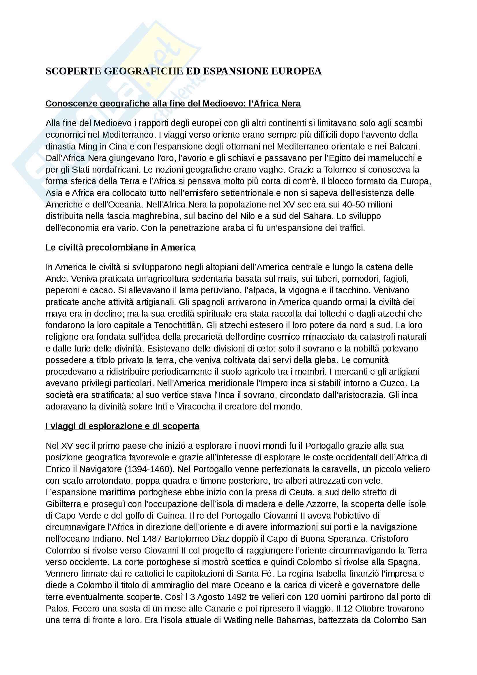 Riassunto esame storia moderna, prof. Piero Sanna, libro consigliato Manuale di storia moderna C.Capra
