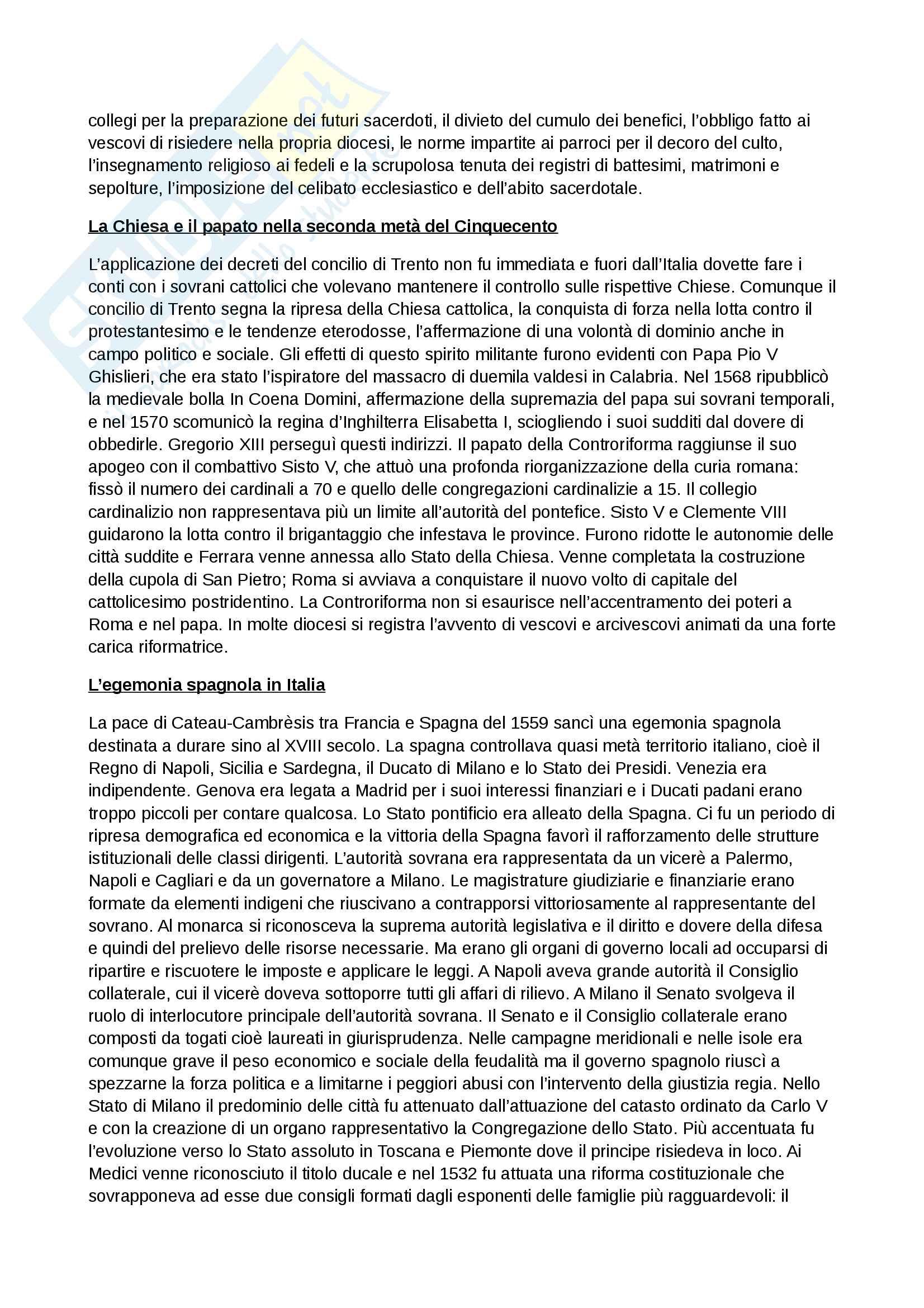 Riassunto esame storia moderna, prof. Piero Sanna, libro consigliato Manuale di storia moderna C.Capra Pag. 11