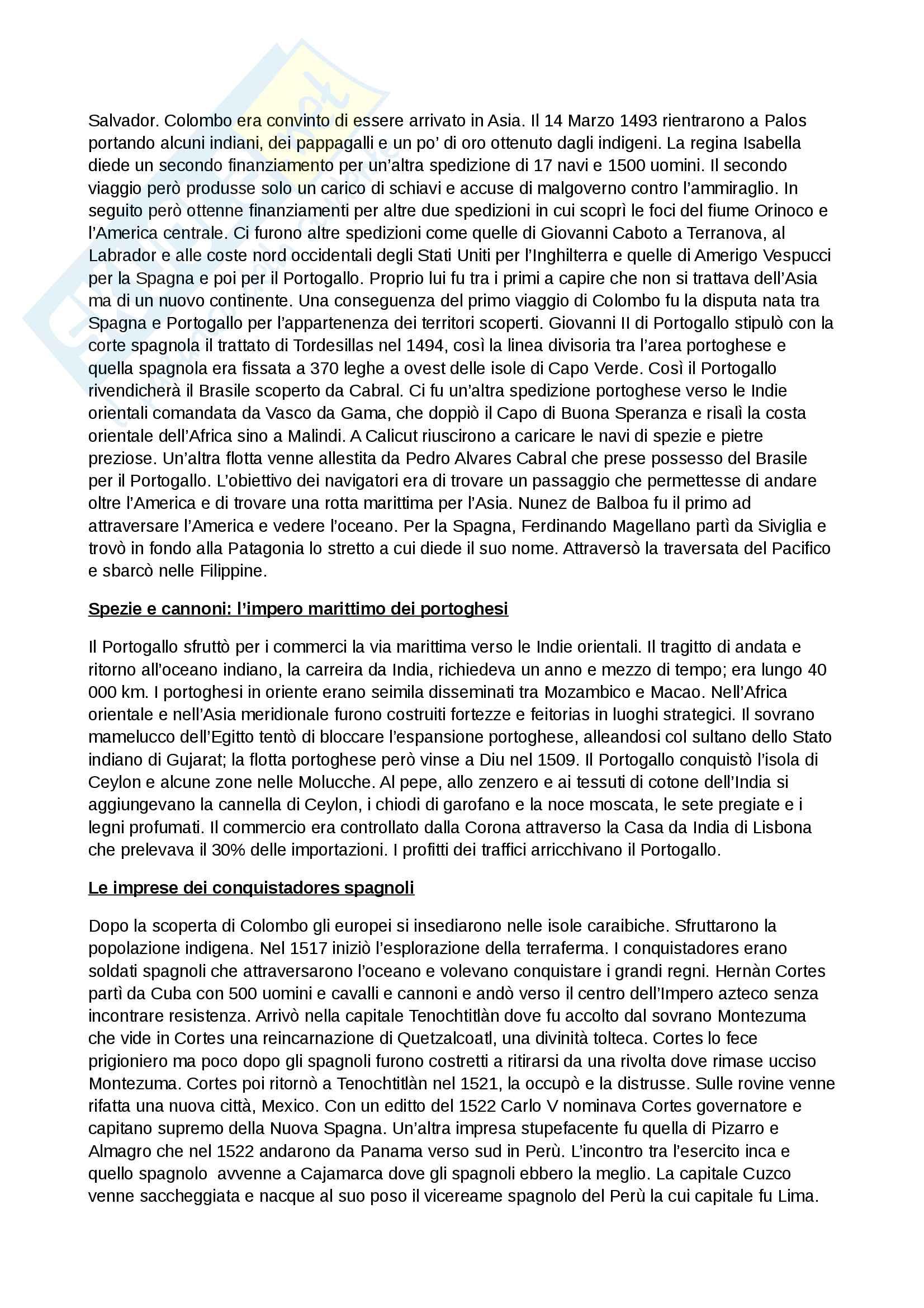 Riassunto esame storia moderna, prof. Piero Sanna, libro consigliato Manuale di storia moderna C.Capra Pag. 2