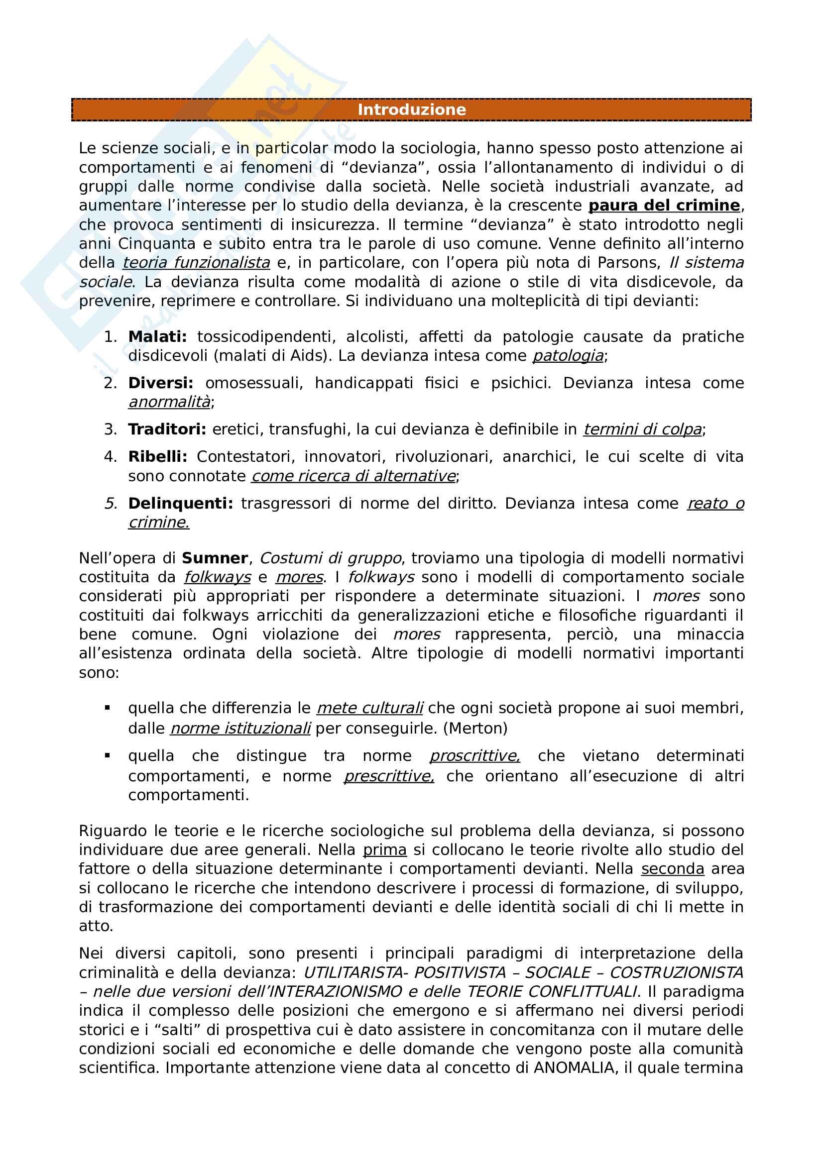 Riassunto esame Sociologia della devianza, prof Garreffa, libro consigliato Sociologia della devianza, Berzano, Prina