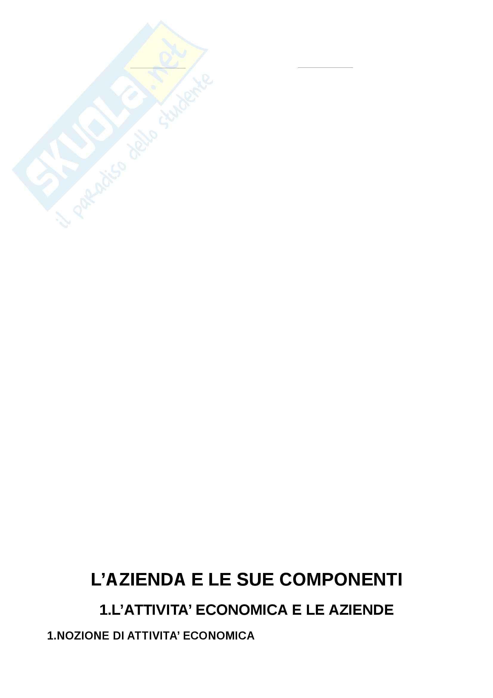 Riassunto esame Economia, prof. Adamo, libro consigliato Lineamenti di economia aziendale, Zanda