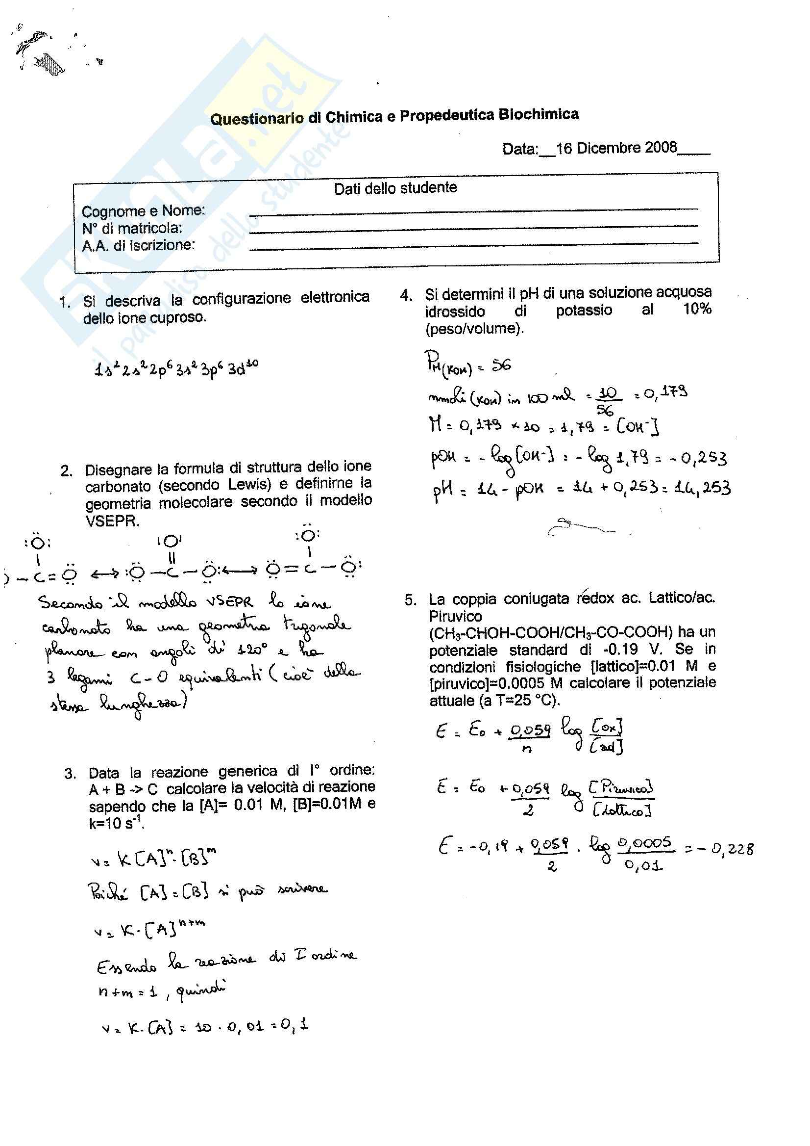 esercitazione N. Capitanio Chimica e propedeutica biochimica