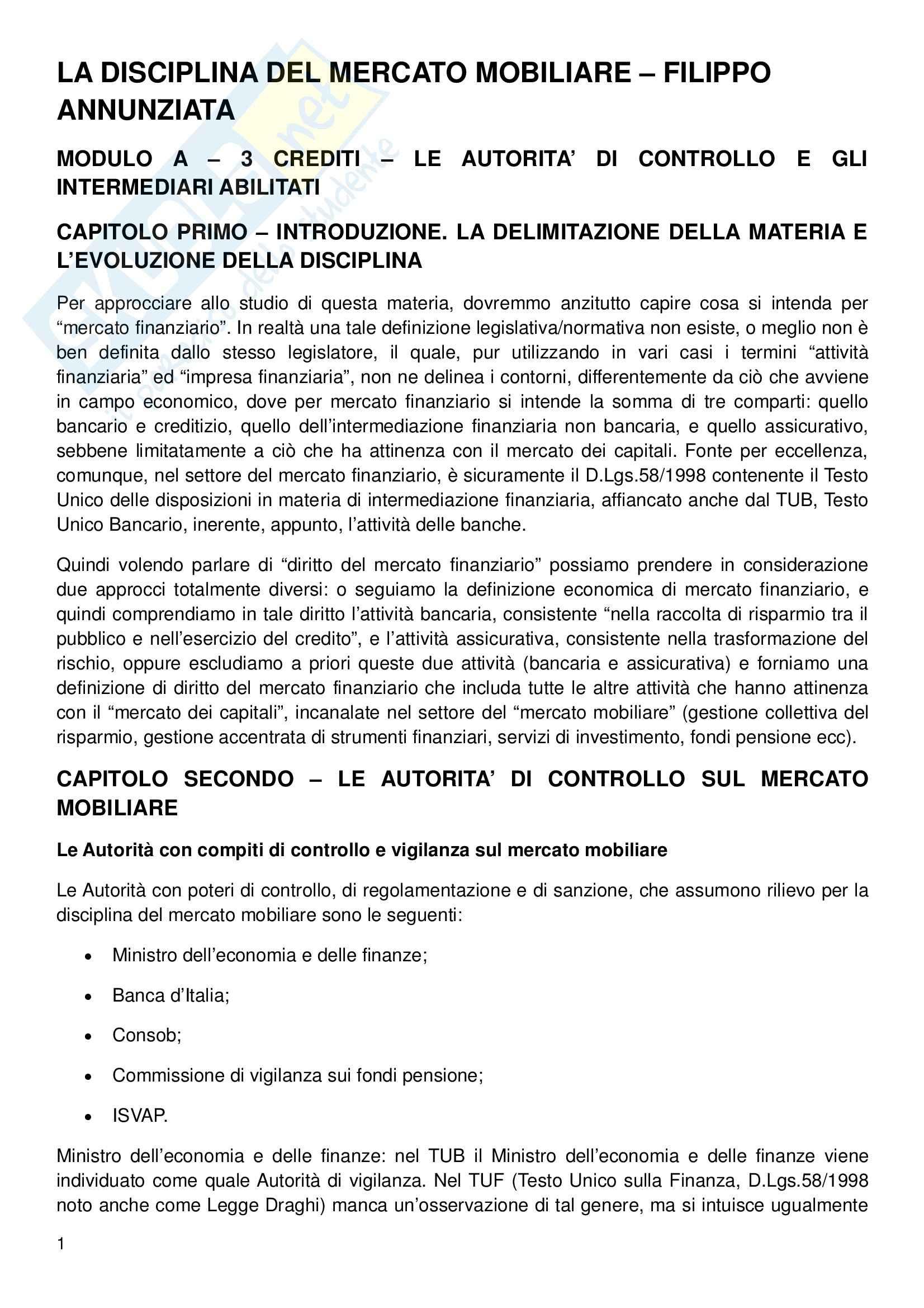 Diritto del mercato finanziario - Appunti