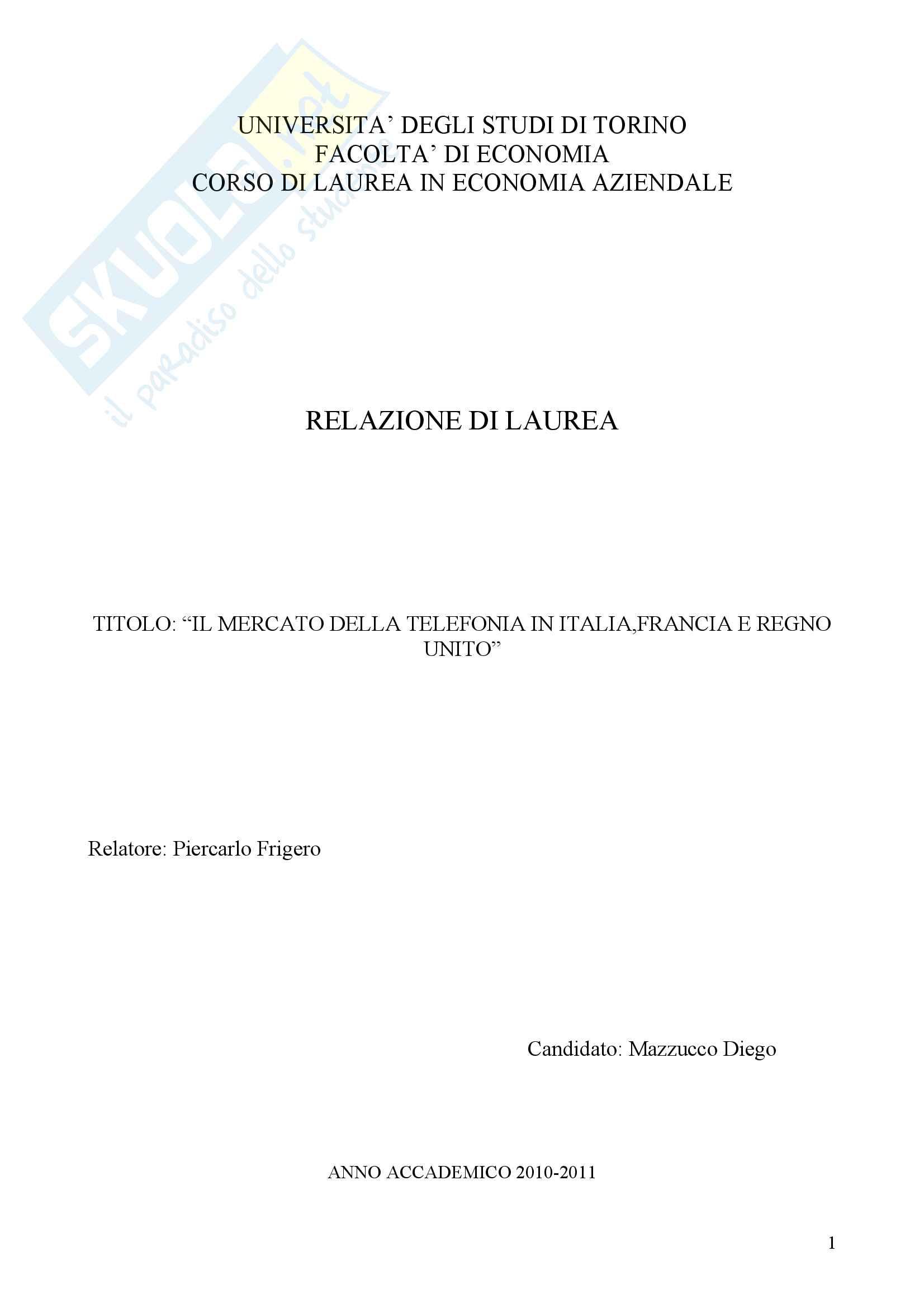 Il mercato delle telecomunicazioni in Italia, Francia e Gran Bretagna