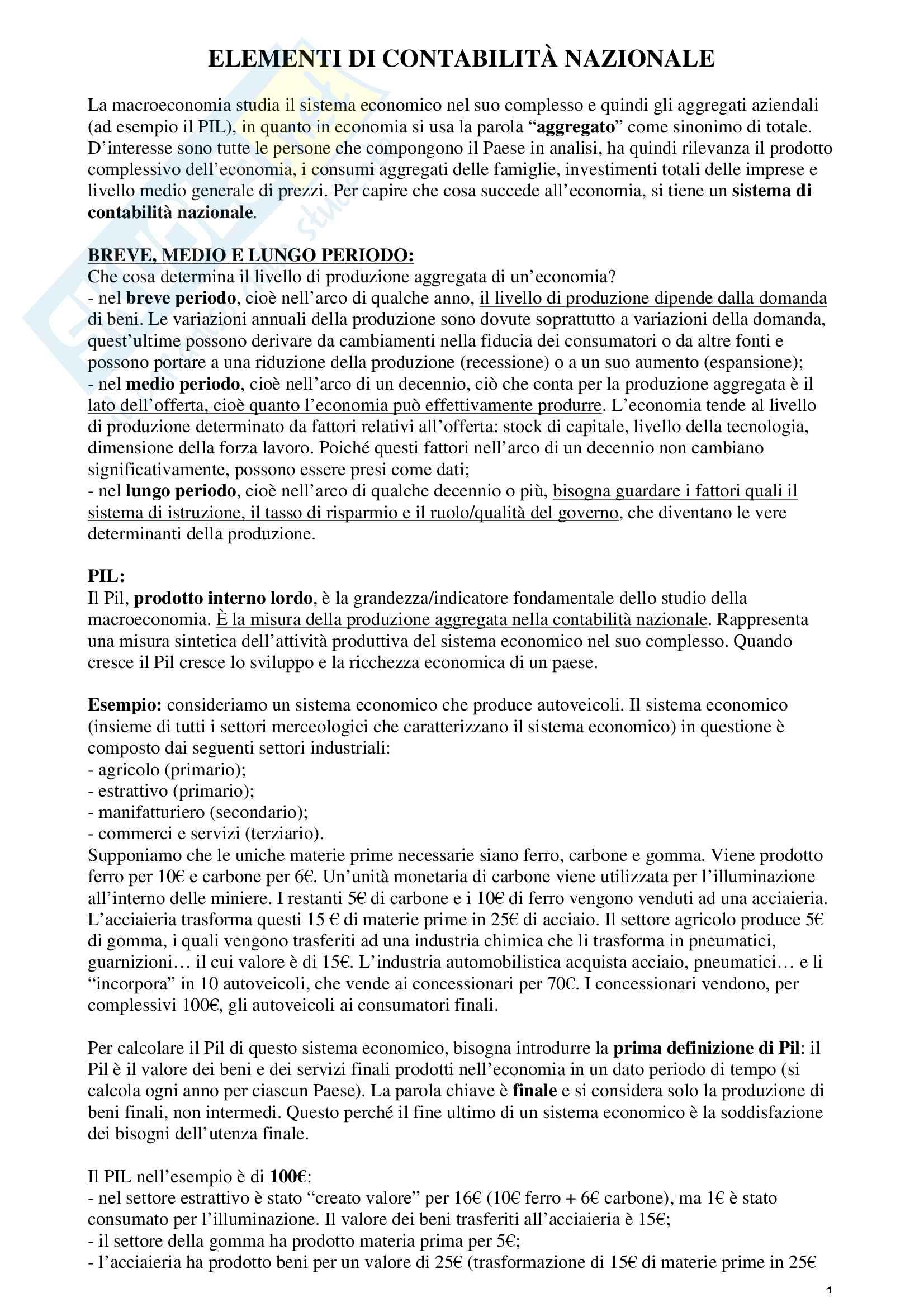 Riassunto esame macroeconomia, prof. Piccirilli, libro consigliato Blanchard