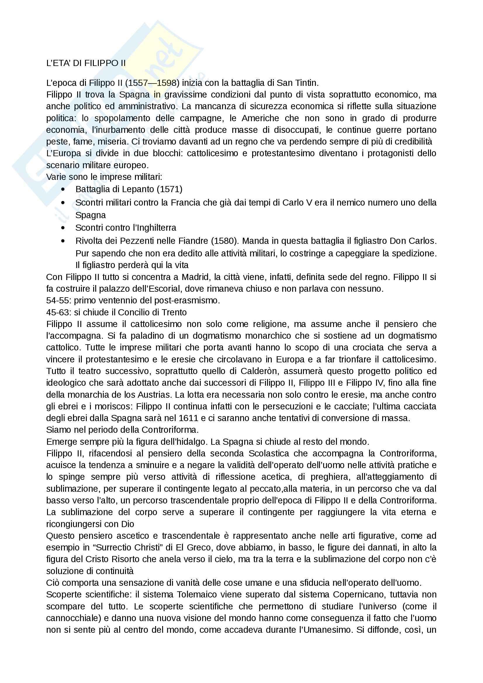 Riassunto esame Letteratura spagnola, prof. Cancelliere, libro consigliato La letteratura spagnola. I secoli d'oro, Simonà, Mancini