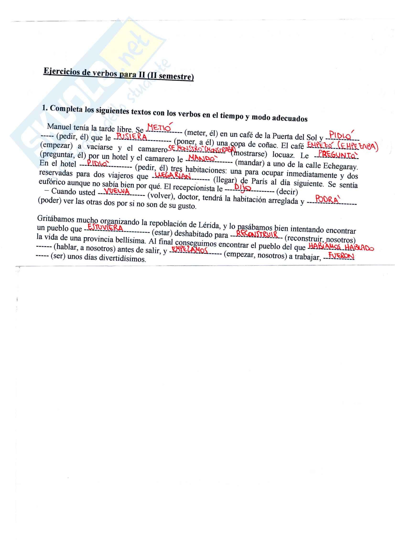 Lingua spagnola 1 - i verbi di spagnolo