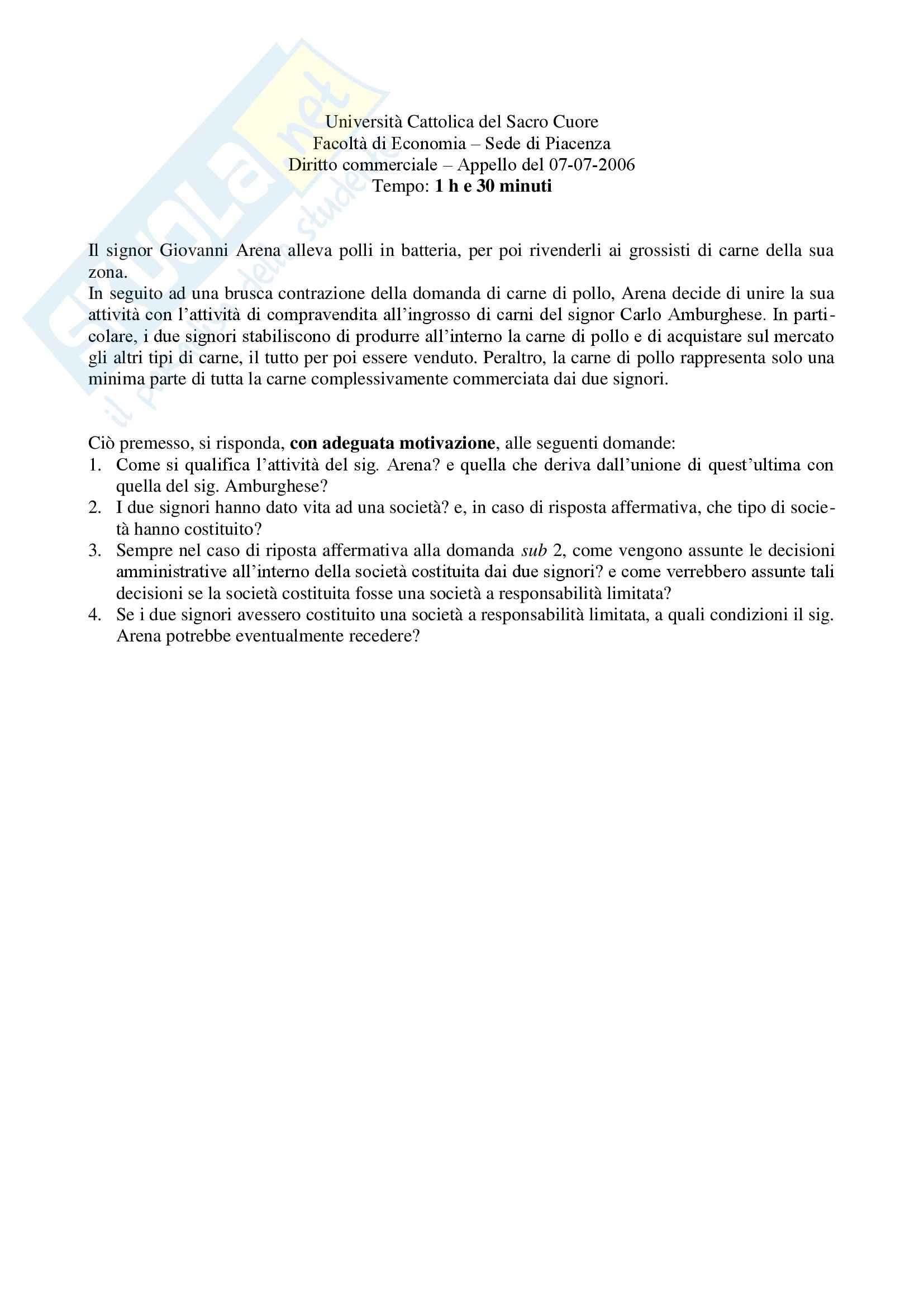 Diritto commerciale - Tema d'esame
