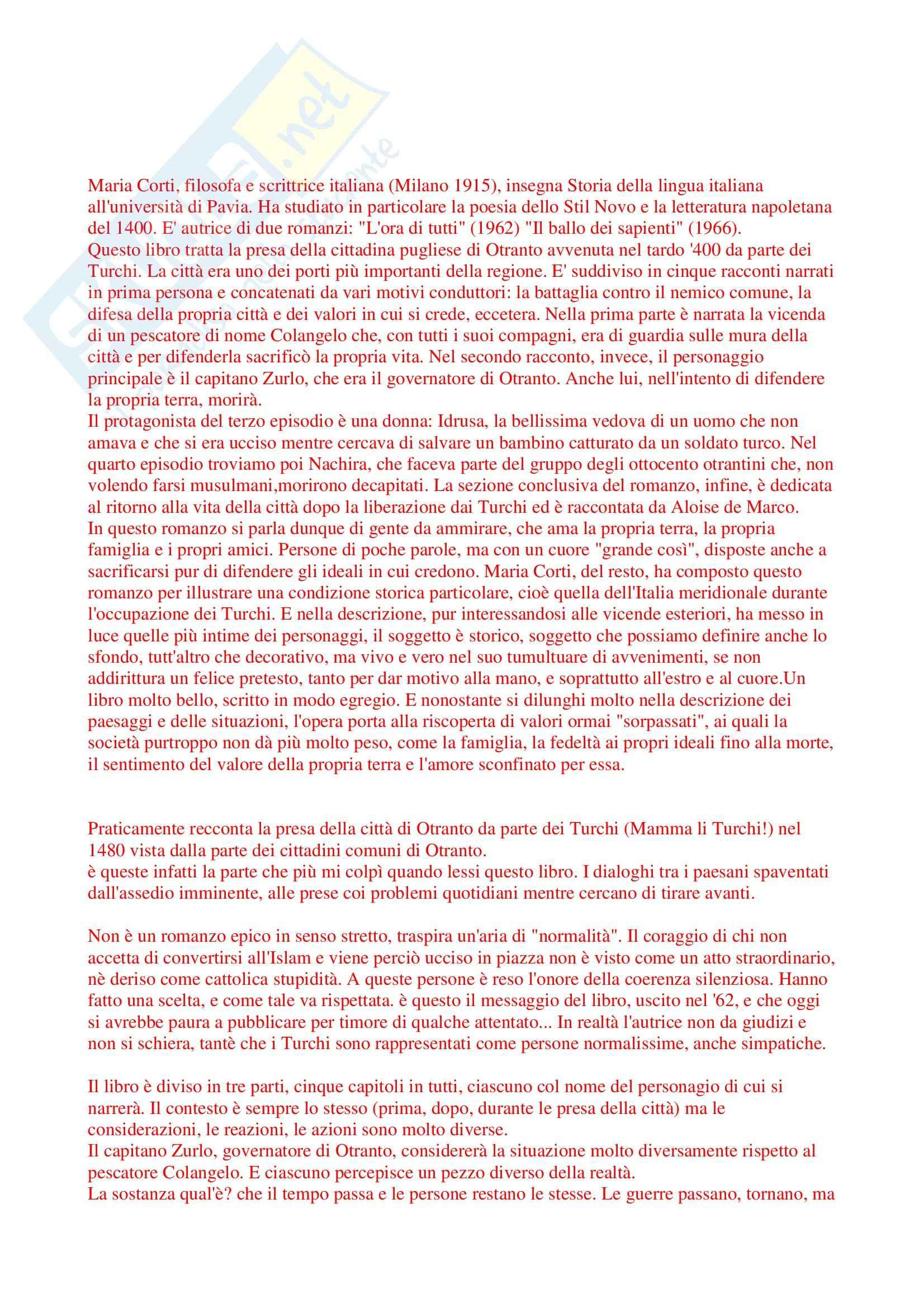 Riassunto esame Letteratura Italiana, prof. Giglio, libro consigliato L'Ora di Tutti, Corti