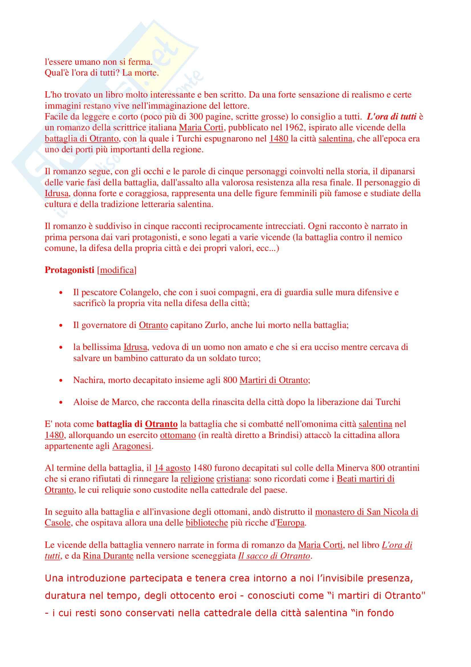Riassunto esame Letteratura Italiana, prof. Giglio, libro consigliato L'Ora di Tutti, Corti Pag. 2