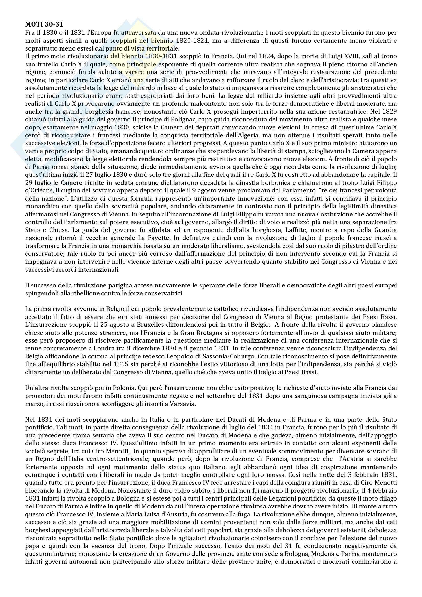 Riassunto esame Storia Contemporanea, prof. Berardi, libro consigliato Storia Contemporanea: l'800, Sabatucci, Vidotto Pag. 11