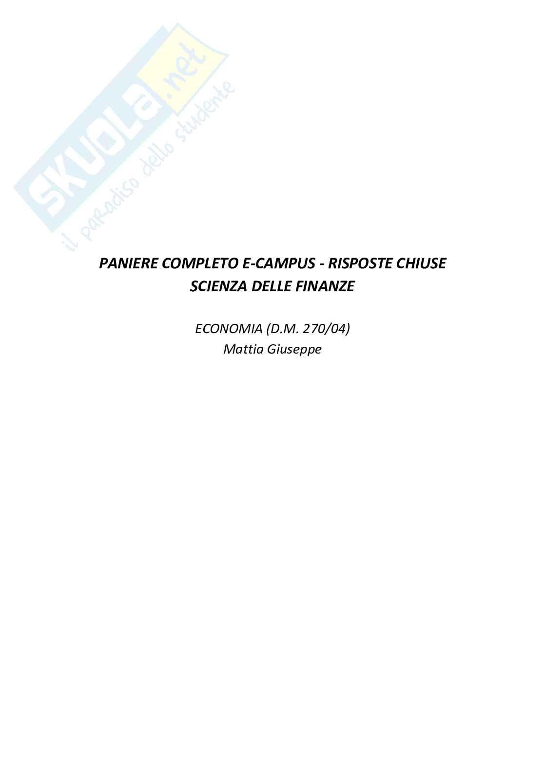 Paniere compilato con risposte chiuse di Scienza delle finanze
