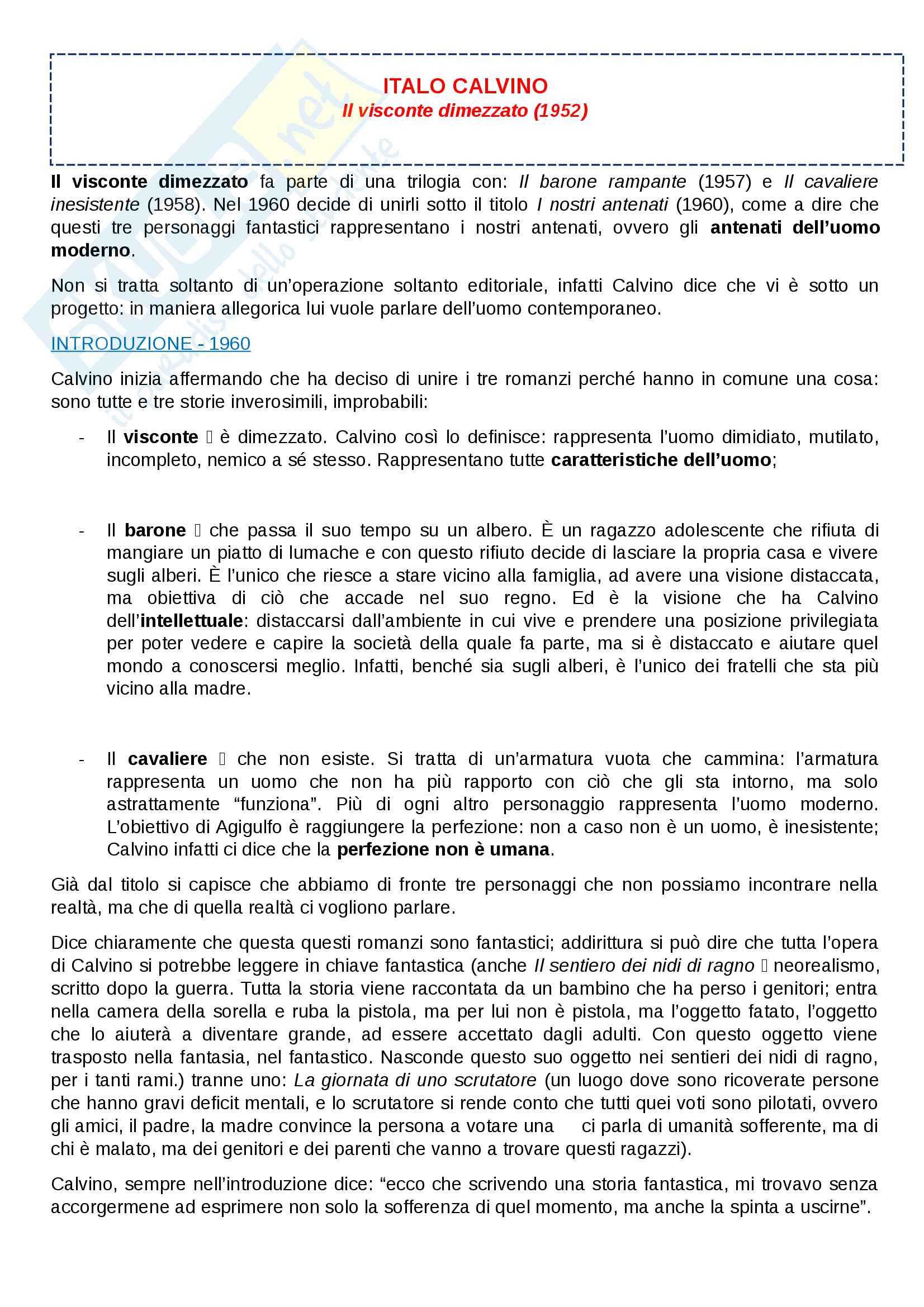 Riassunto esame di Lingua e Letteratura Italiana, prof.ssa Zangrandi, libro consigliato Il Visconte dimezzato, I.Calvino