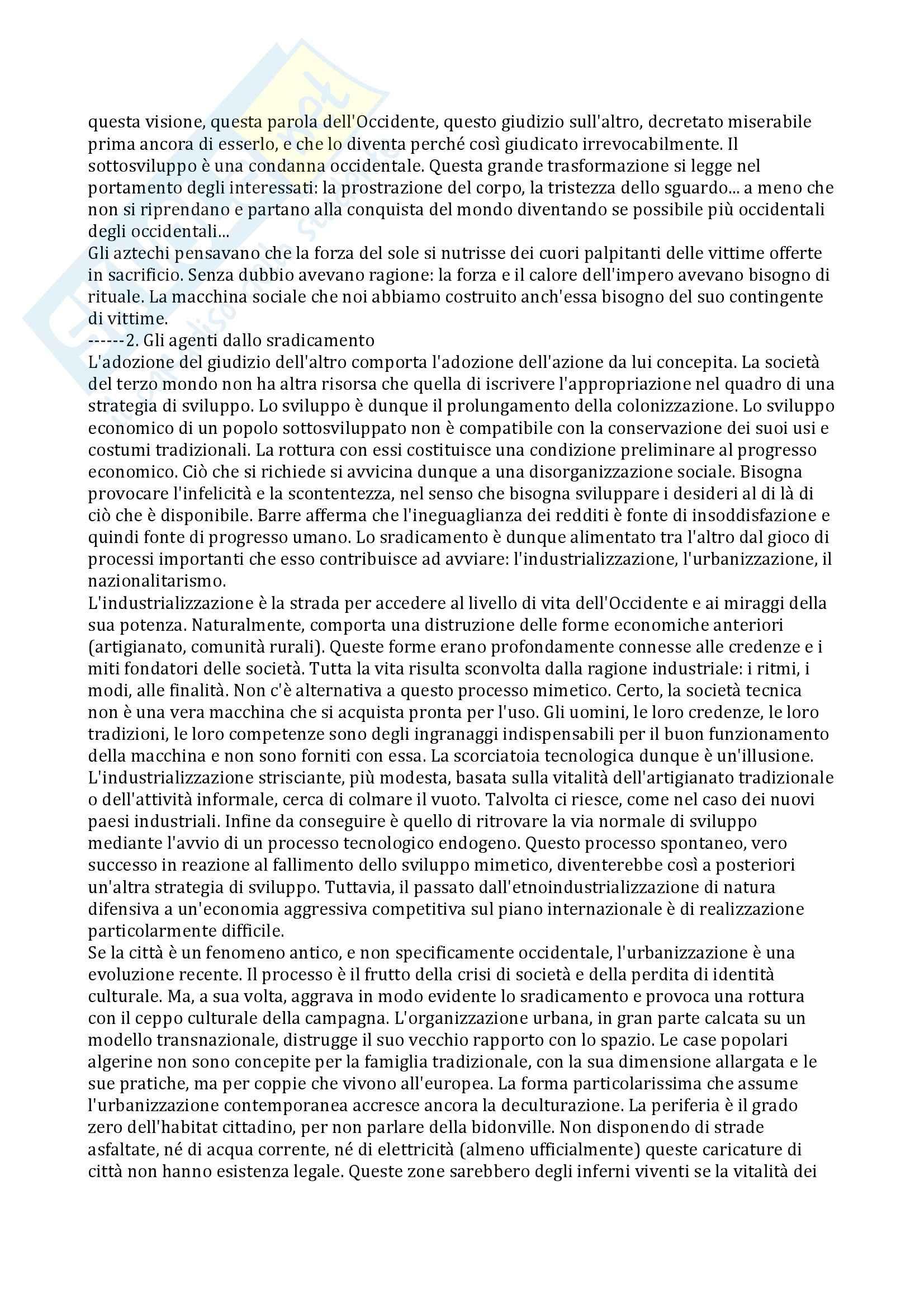 Riassunto esame Antropologia dello Sviluppo, prof. Sarnelli, libro consigliato L'Occidentalizzazione del Mondo, Latouche Pag. 11