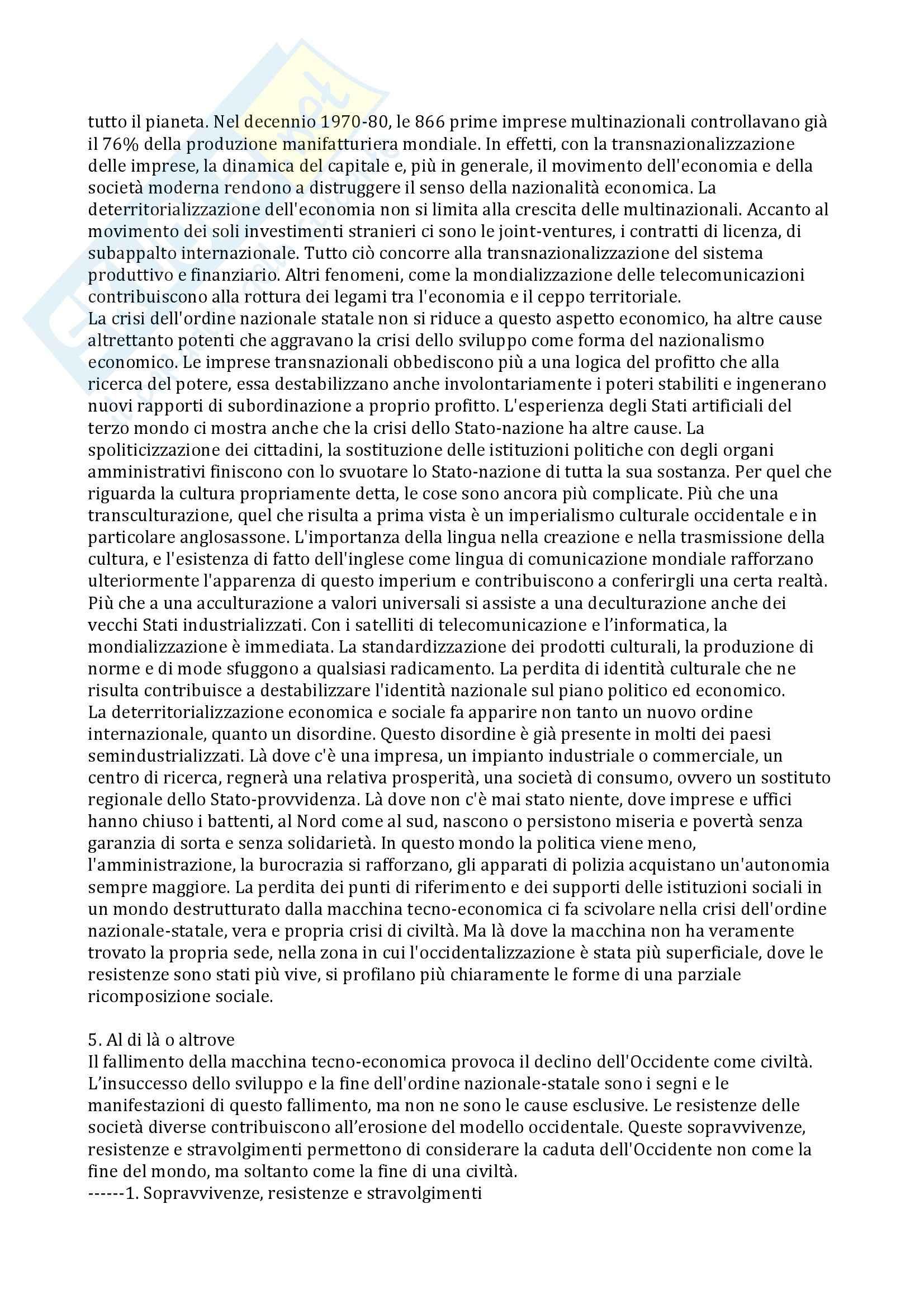 Riassunto esame Antropologia dello Sviluppo, prof. Sarnelli, libro consigliato L'Occidentalizzazione del Mondo, Latouche Pag. 16