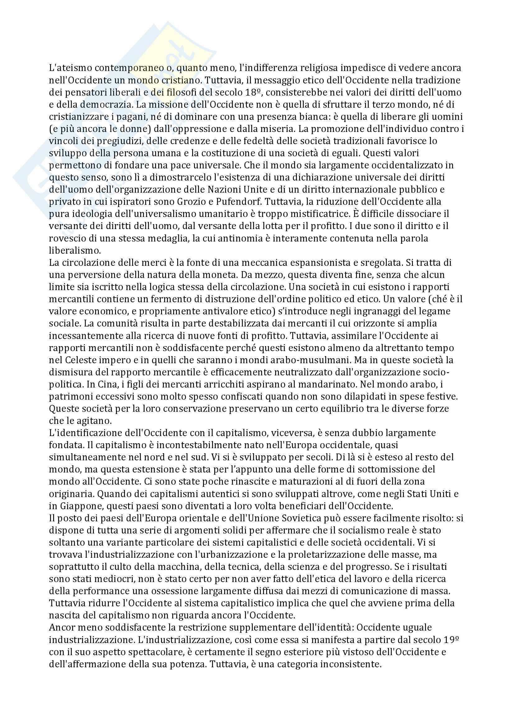 Riassunto esame Antropologia dello Sviluppo, prof. Sarnelli, libro consigliato L'Occidentalizzazione del Mondo, Latouche Pag. 6