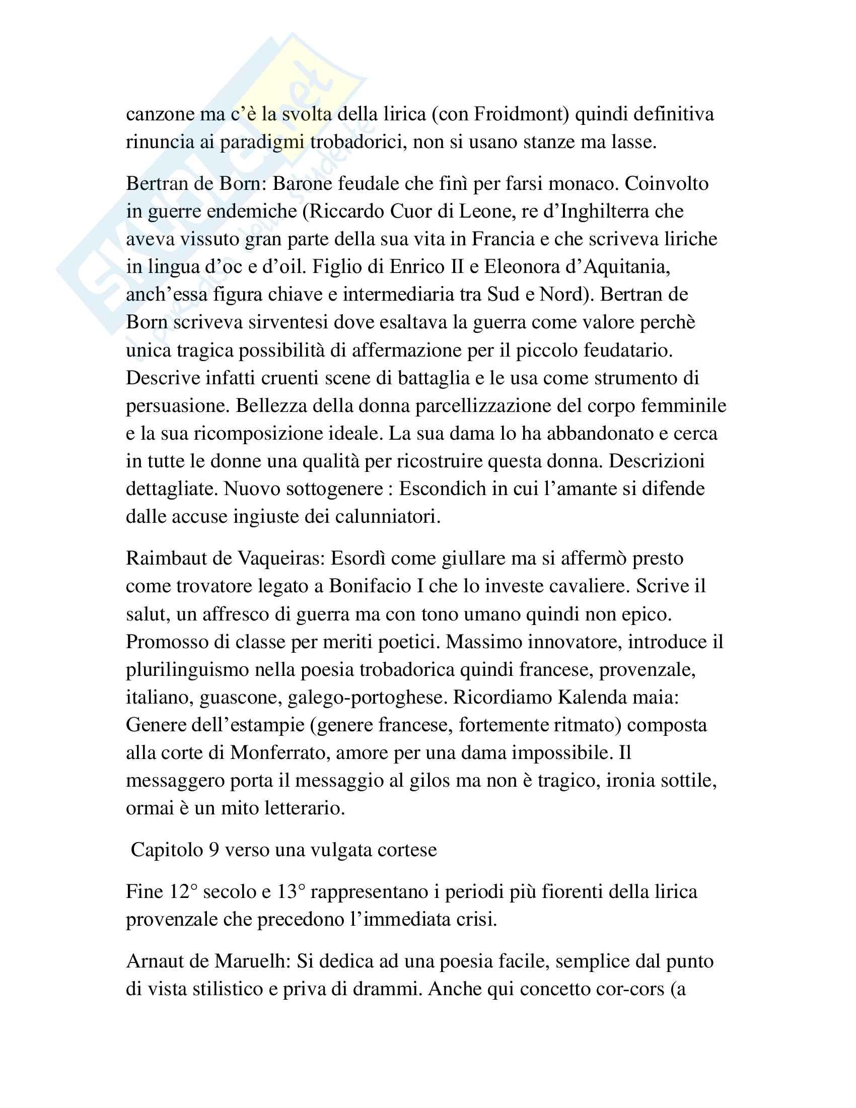 Riassunto esame Filologia Romanza, prof. Marinetti, libro consigliato I trovatori, Di Girolamo Pag. 11