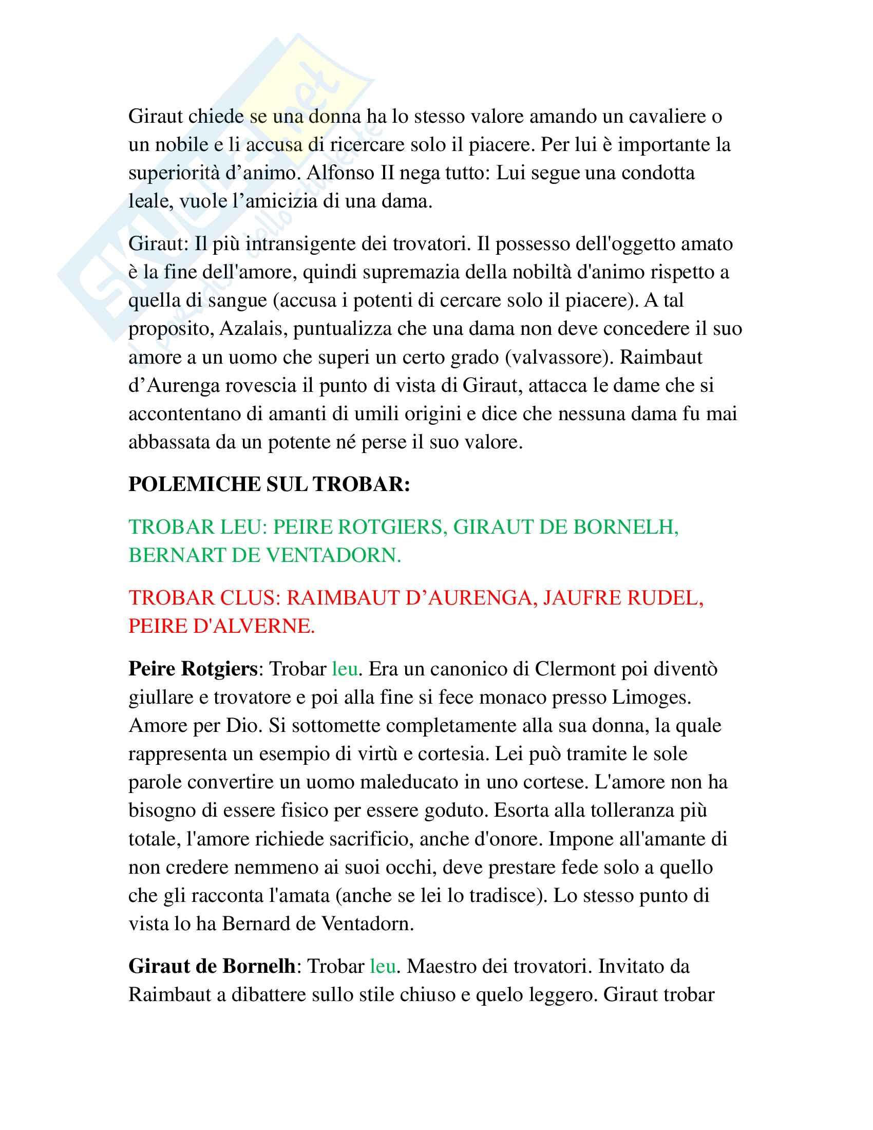 Riassunto esame Filologia Romanza, prof. Marinetti, libro consigliato I trovatori, Di Girolamo Pag. 6