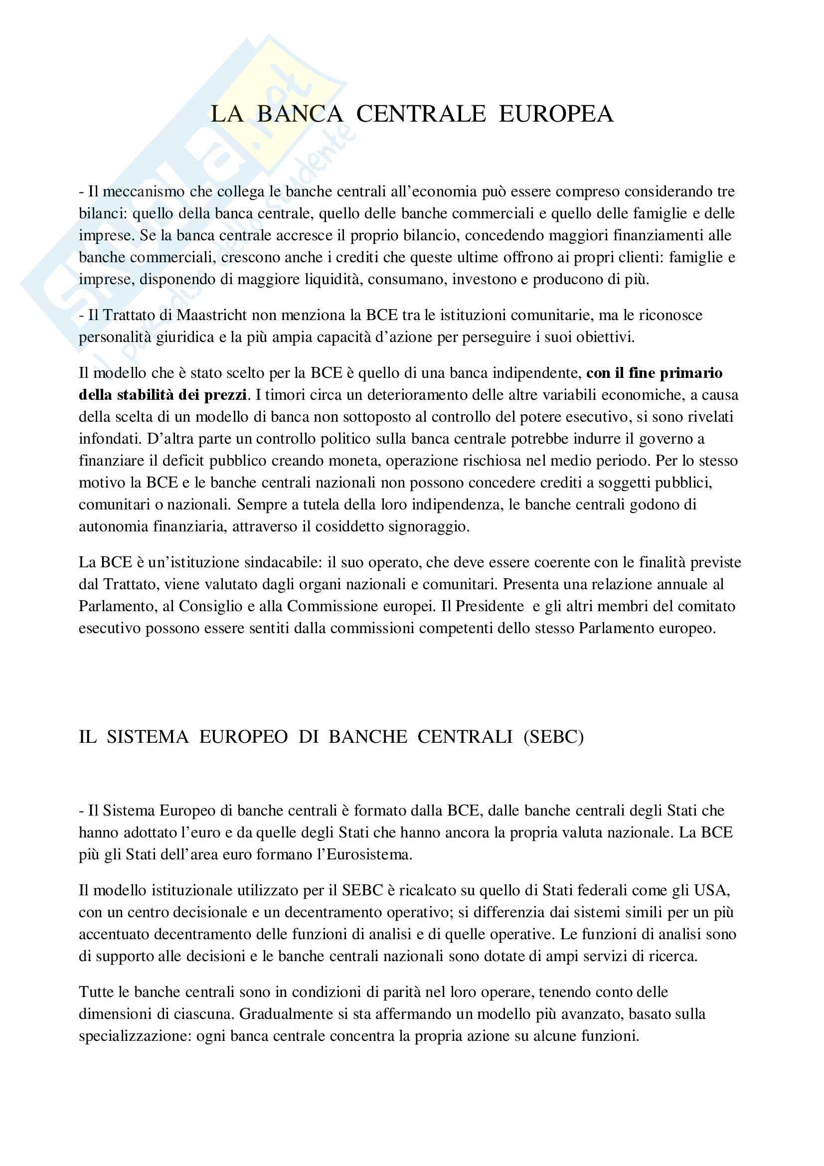 Economia politica - la Banca Centrale Europea